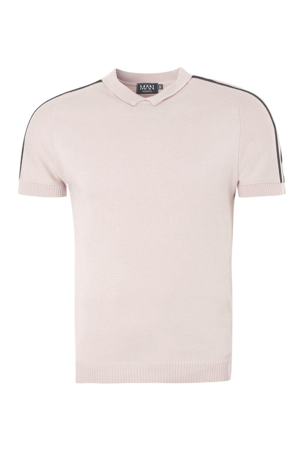 boohooMAN taupe Muscle Fit Knitted Raglan Polo With Shoulder Stripe