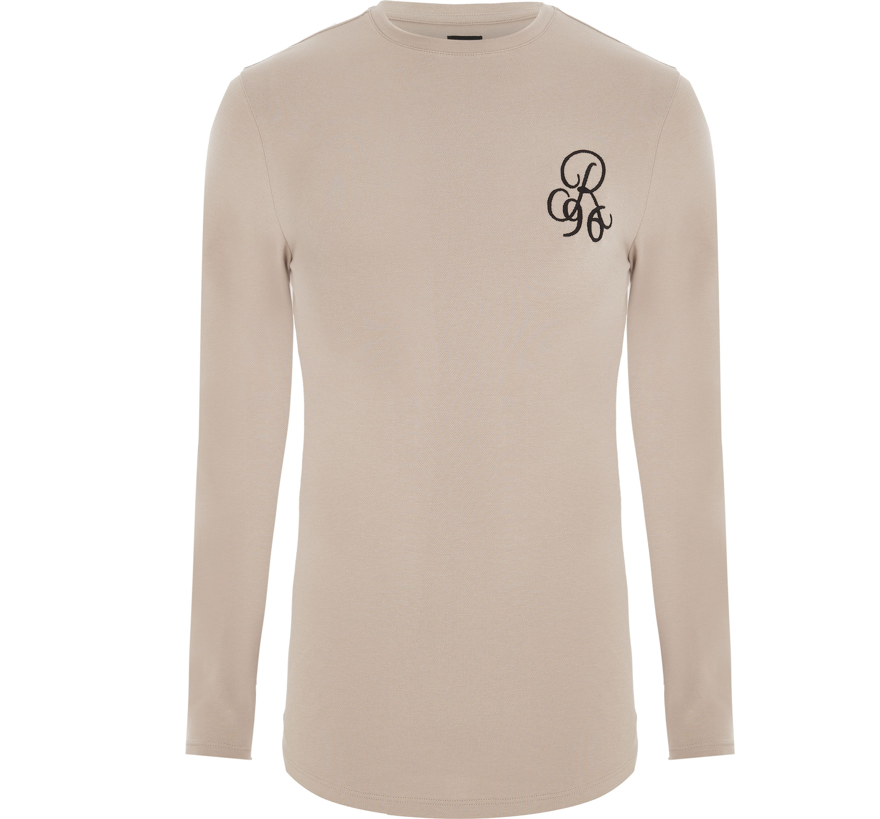 River Island Mens Beige muscle fit 'R96' long sleeve T-shirt