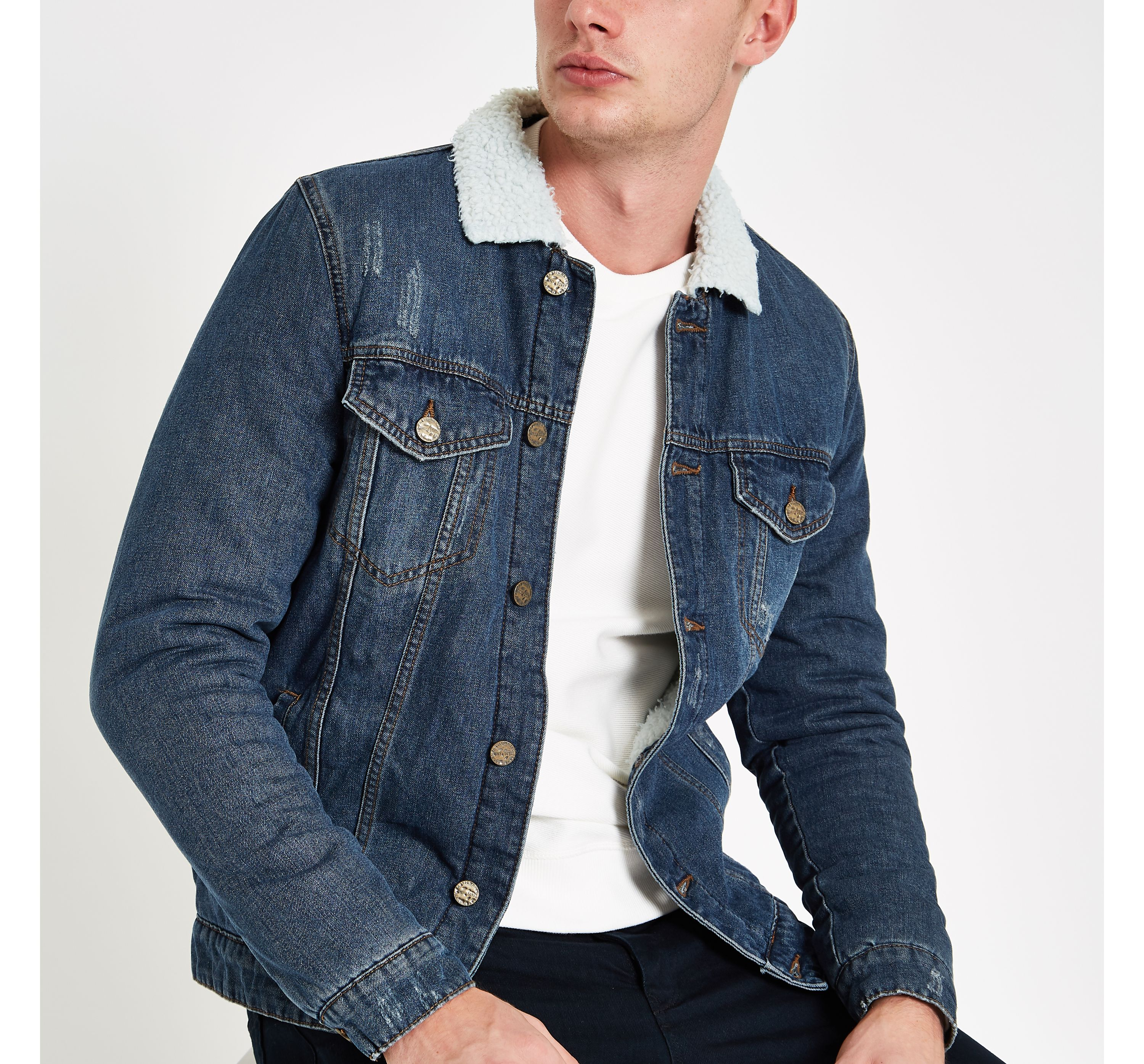 River Island Mens Only and Sons Blue borg collar denim jacket