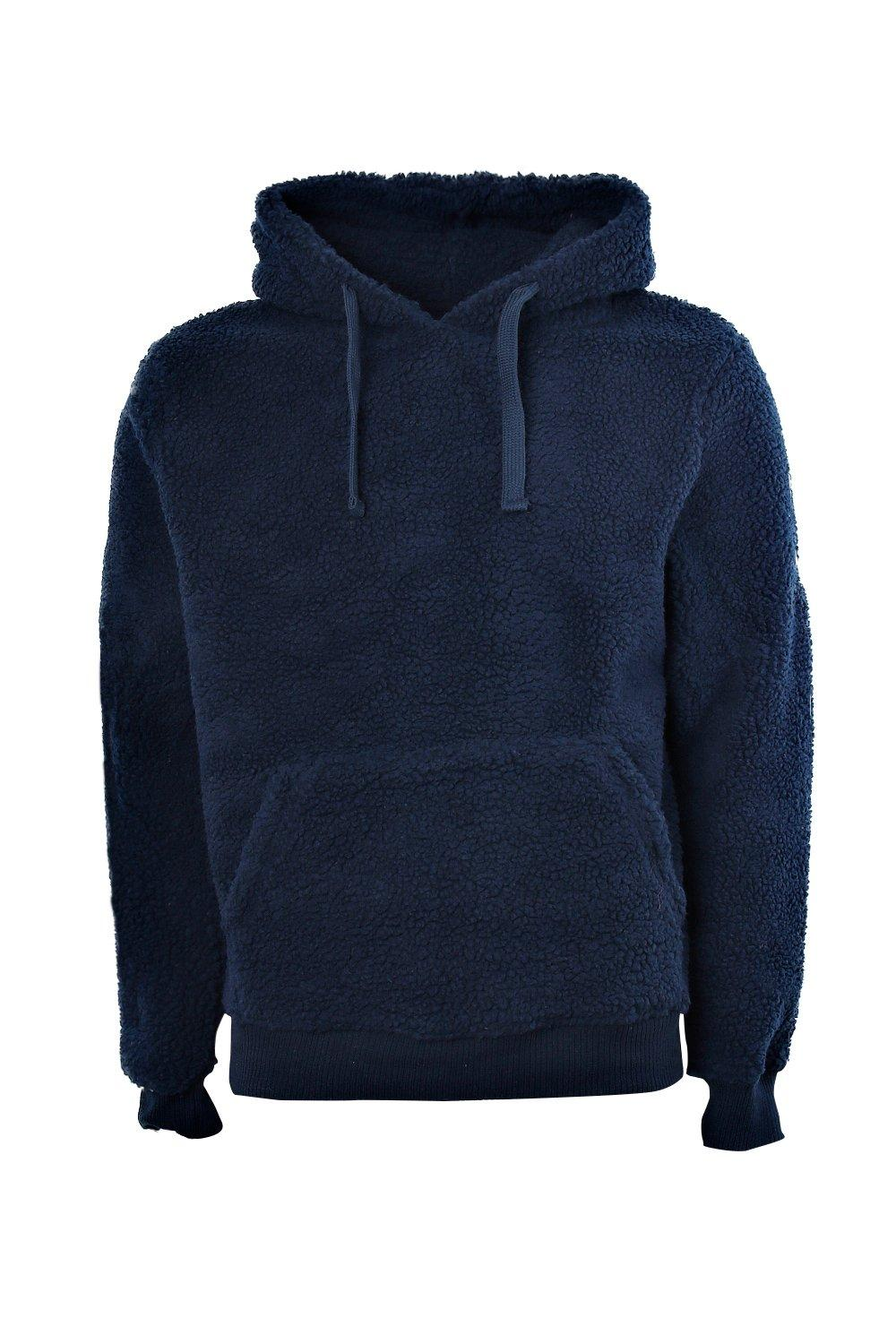 boohooMAN navy Borg Over the Head Hoodie