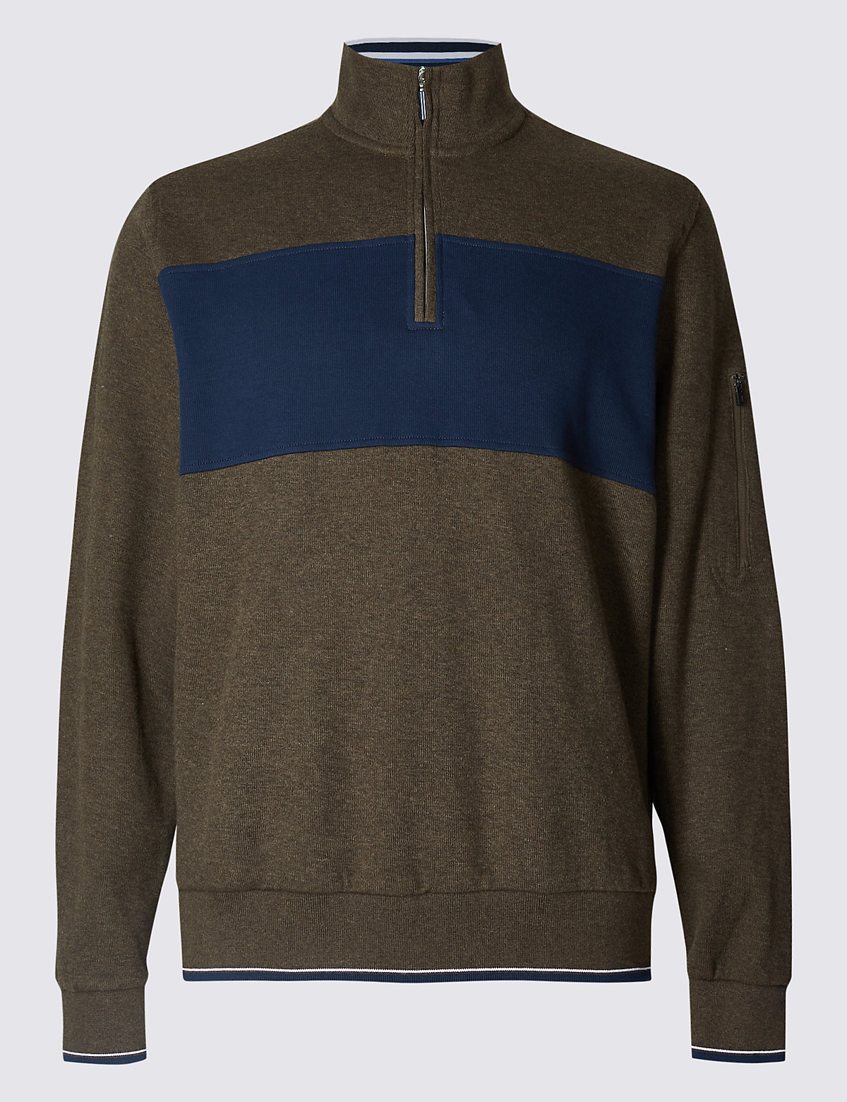 Marks & Spencer Brown Mix Pure Cotton Funnel Neck Top
