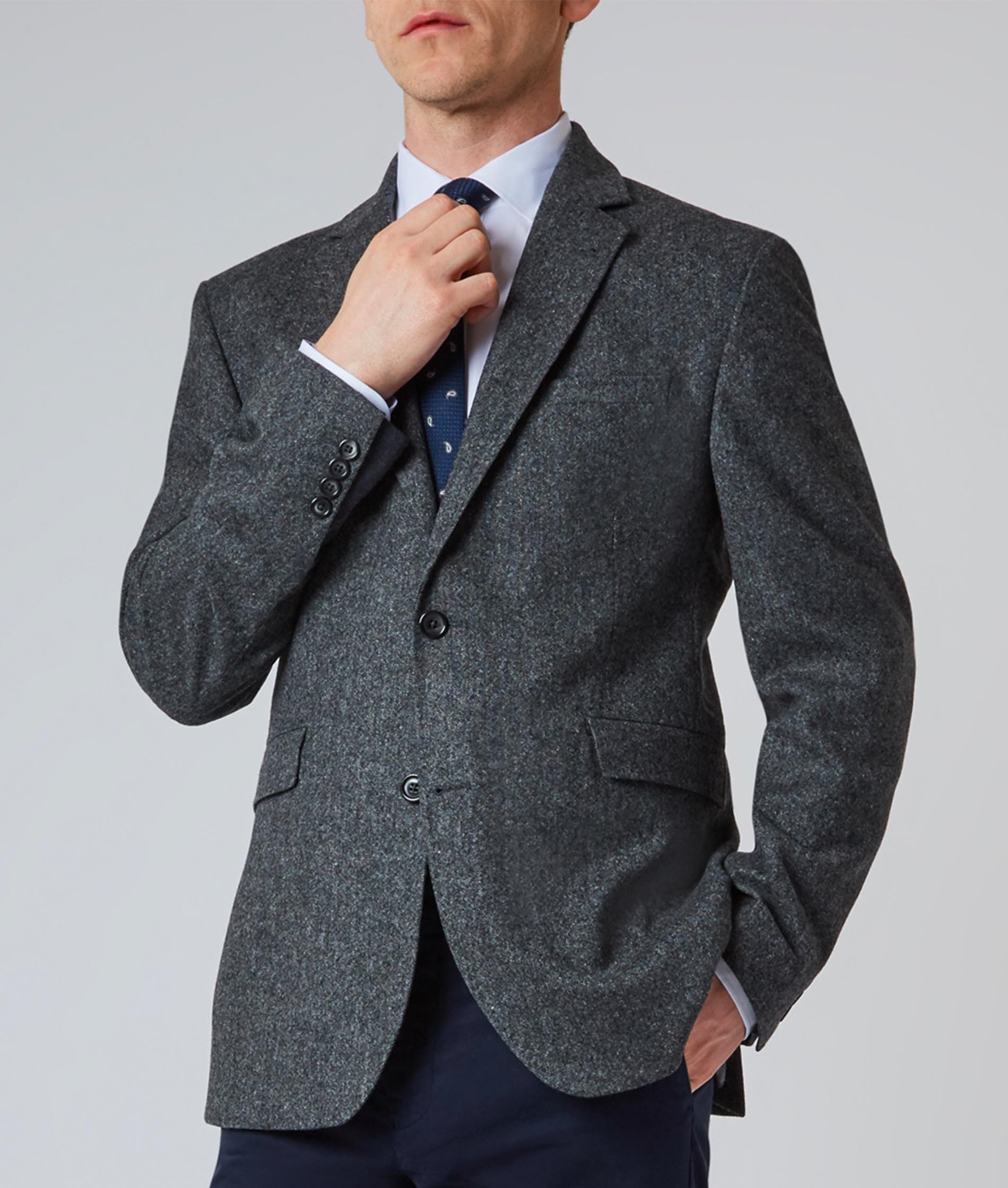 Nigel Hall Dark Grey Two Button Contrast Cuff Blazer (Barnes)