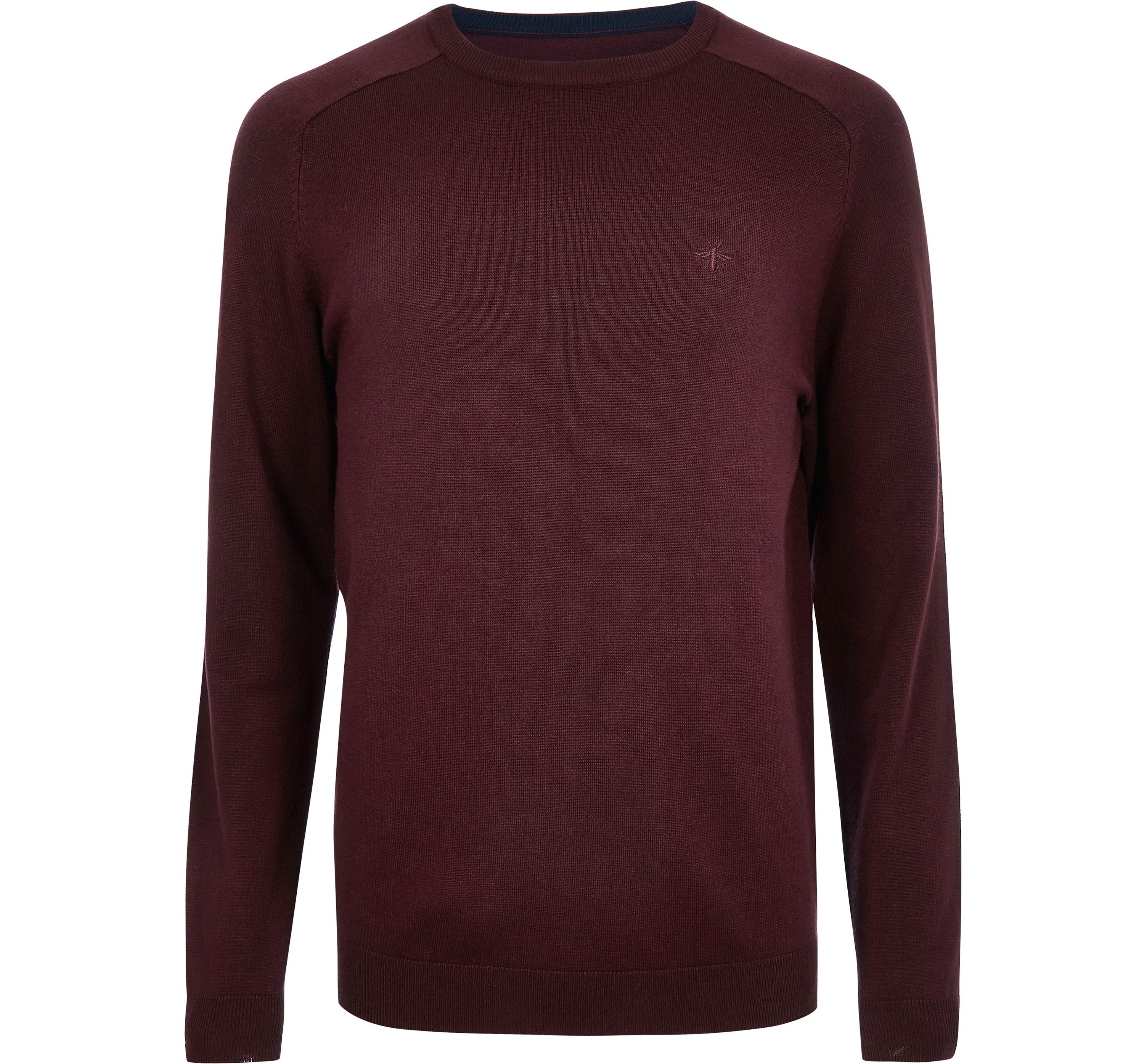River Island Mens Dark Red wasp embroideRed slim fit jumper