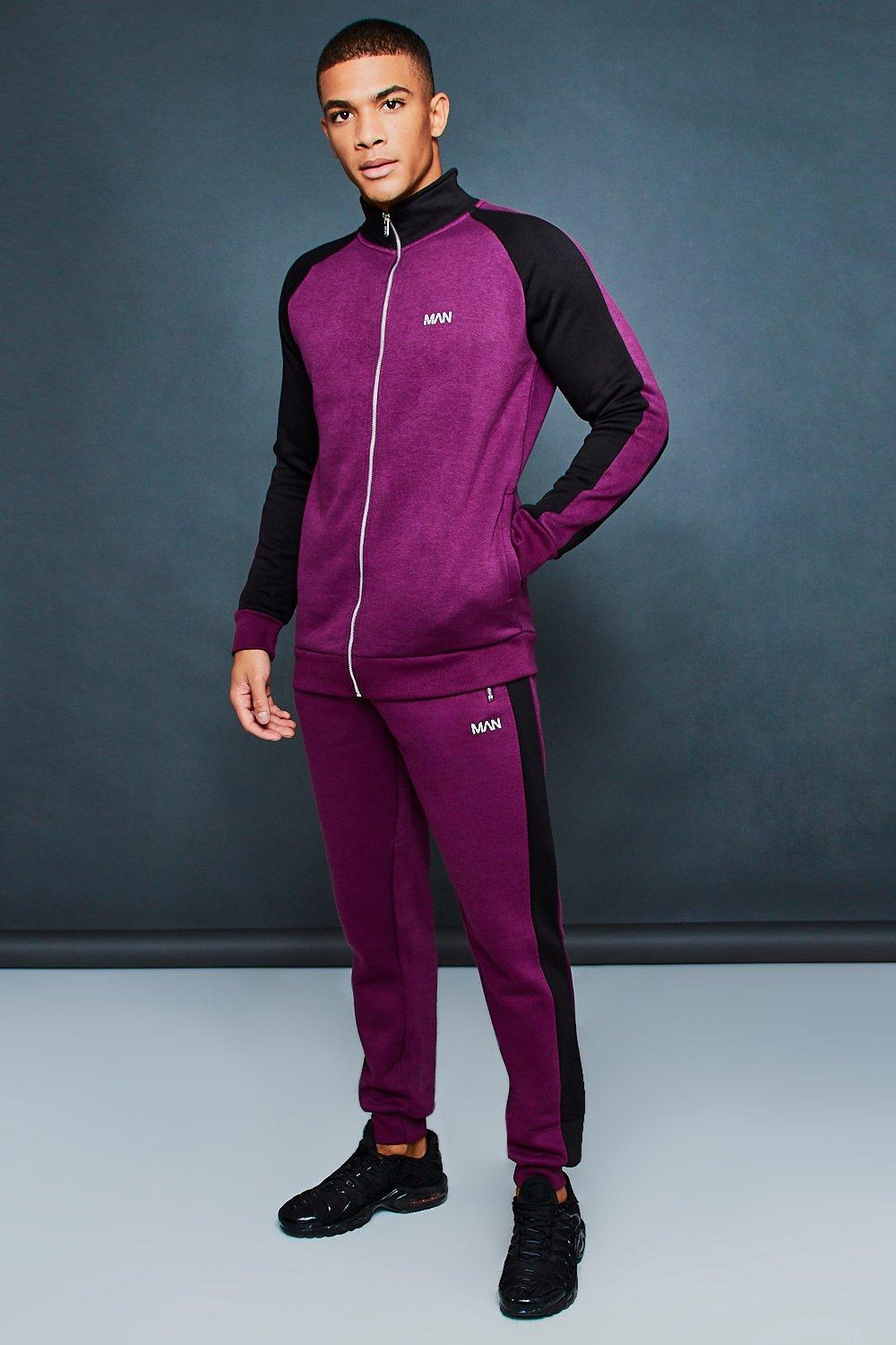boohooMAN wine Active Skinny Funnel Neck Tracksuit