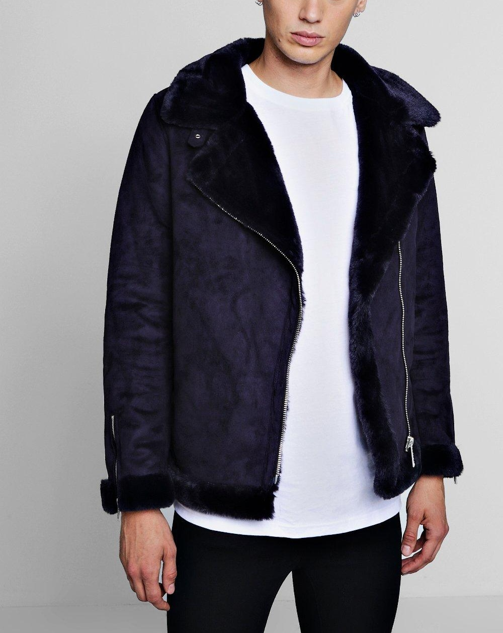 boohooMAN navy Faux Fur Lined Suede Aviator