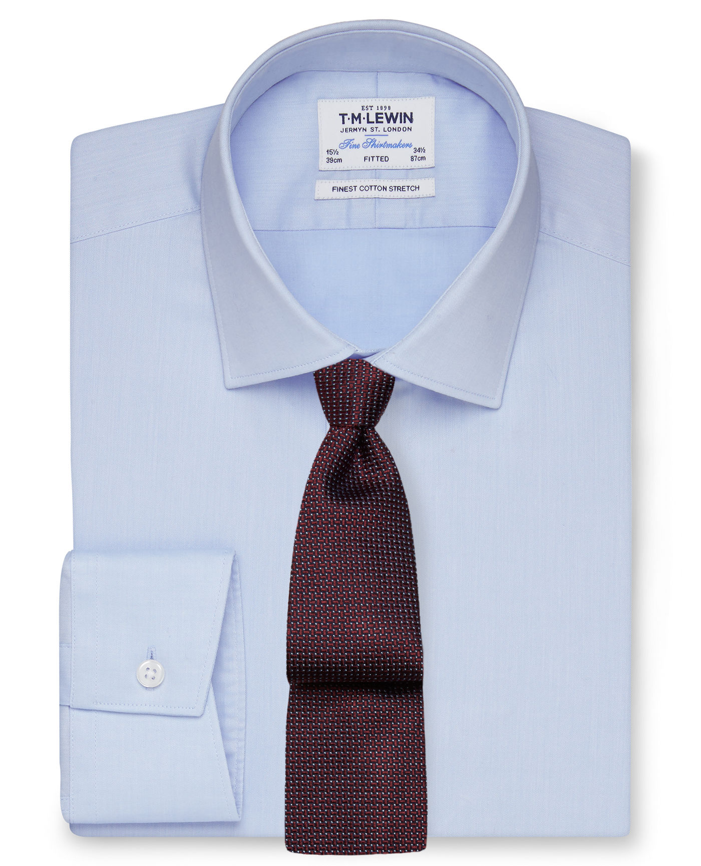 T.M.Lewin Stretch Cotton Fitted Blue Shirt - Button Cuff