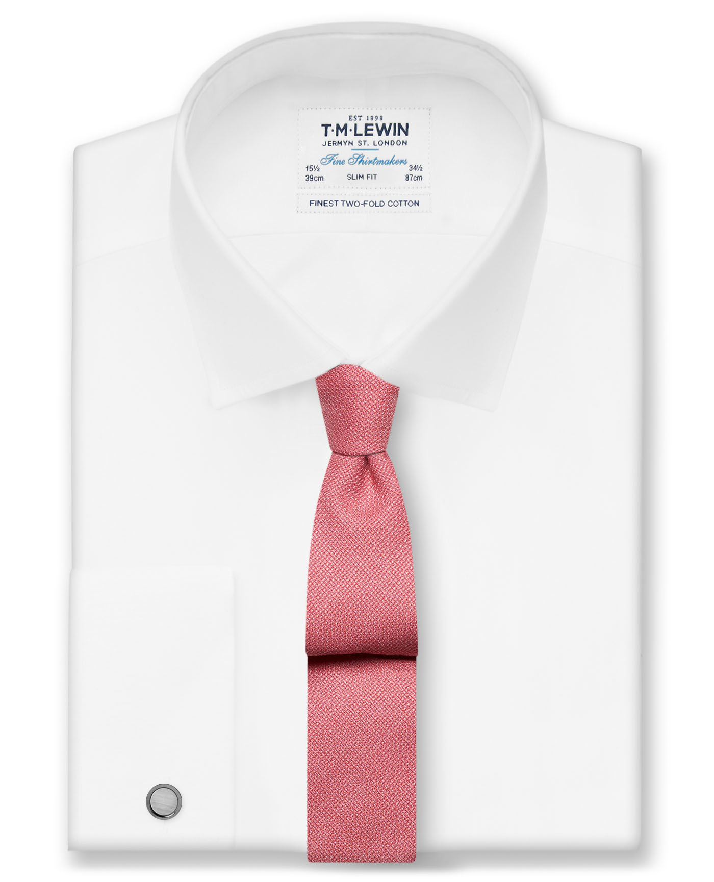 T.M.Lewin White Poplin Slim Fit Double Cuff Shirt