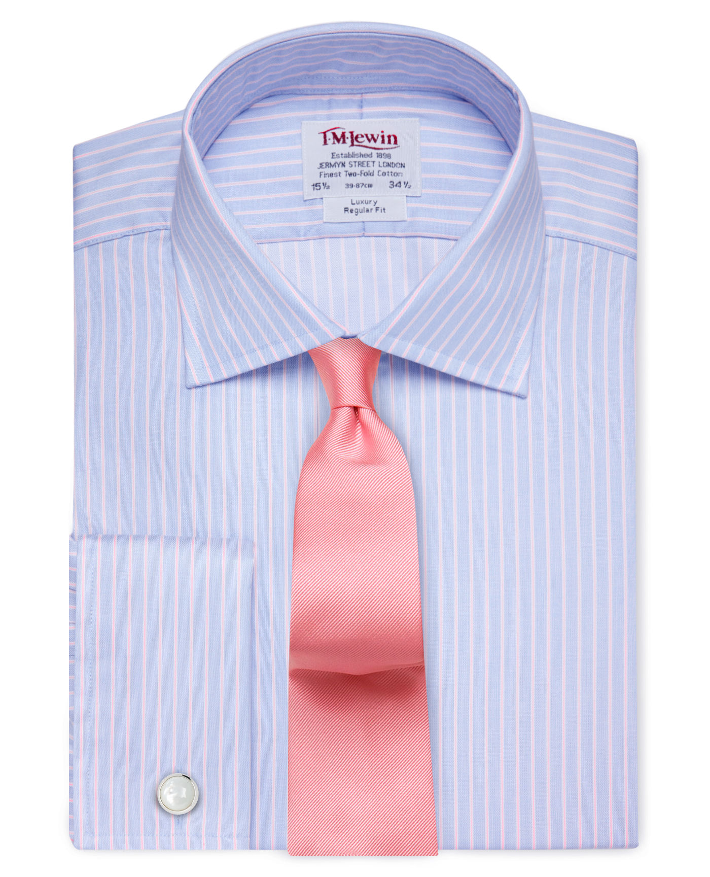T.M.Lewin Regular Fit Blue & Pink Textured Overstripe Shirt