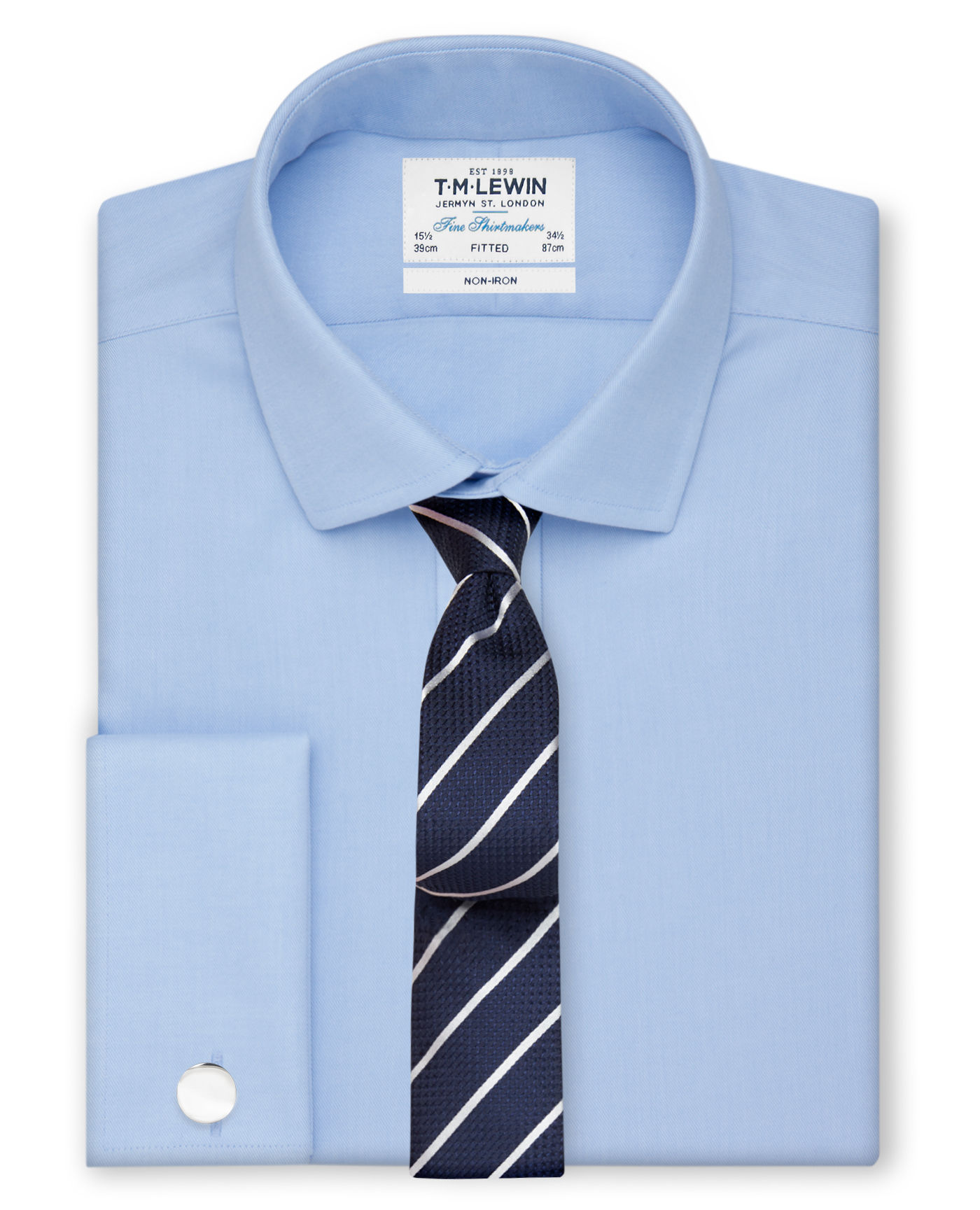 T.M.Lewin Non-Iron Sky Blue Twill Fitted Shirt