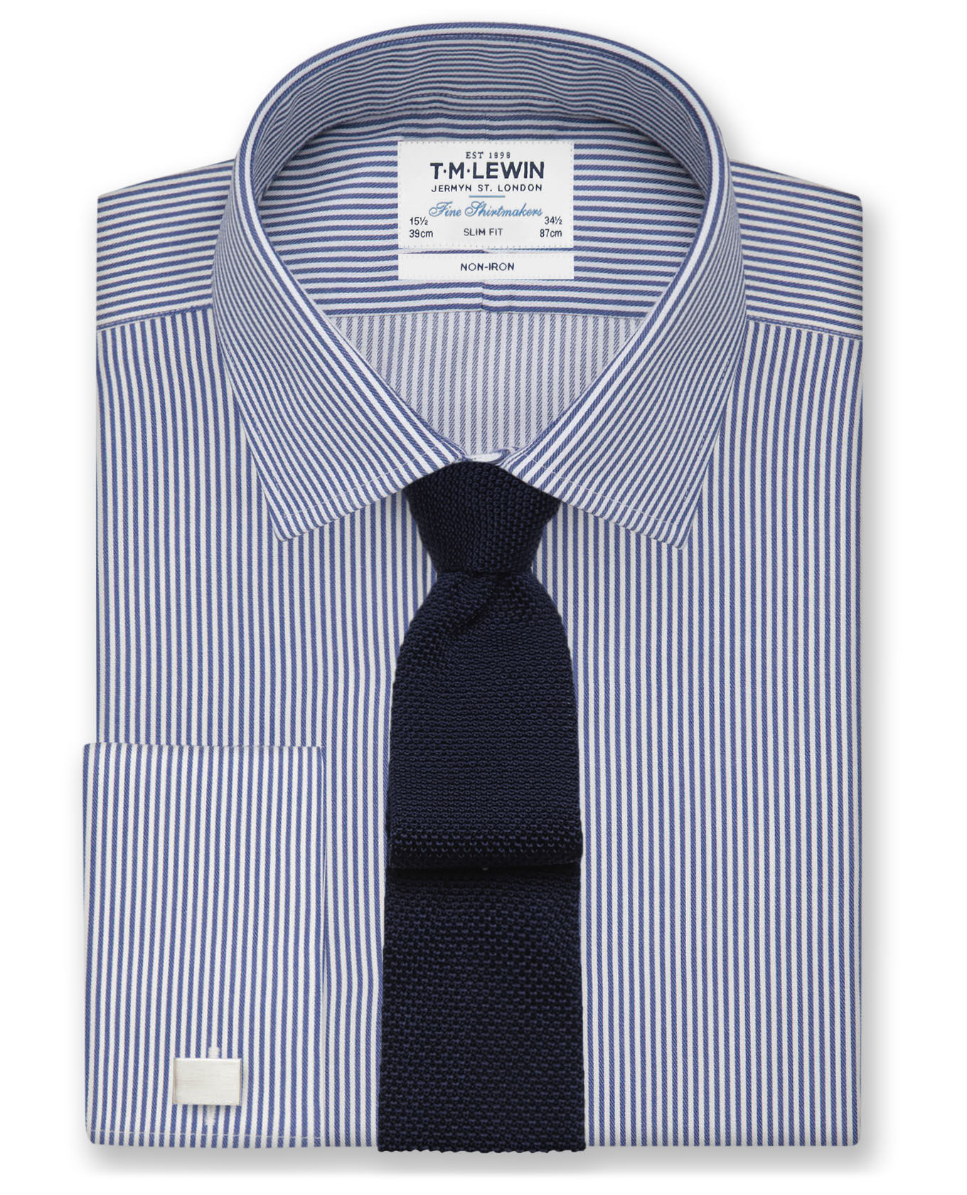 T.M.Lewin Non-Iron Navy Bengal Stripe Slim Fit Shirt