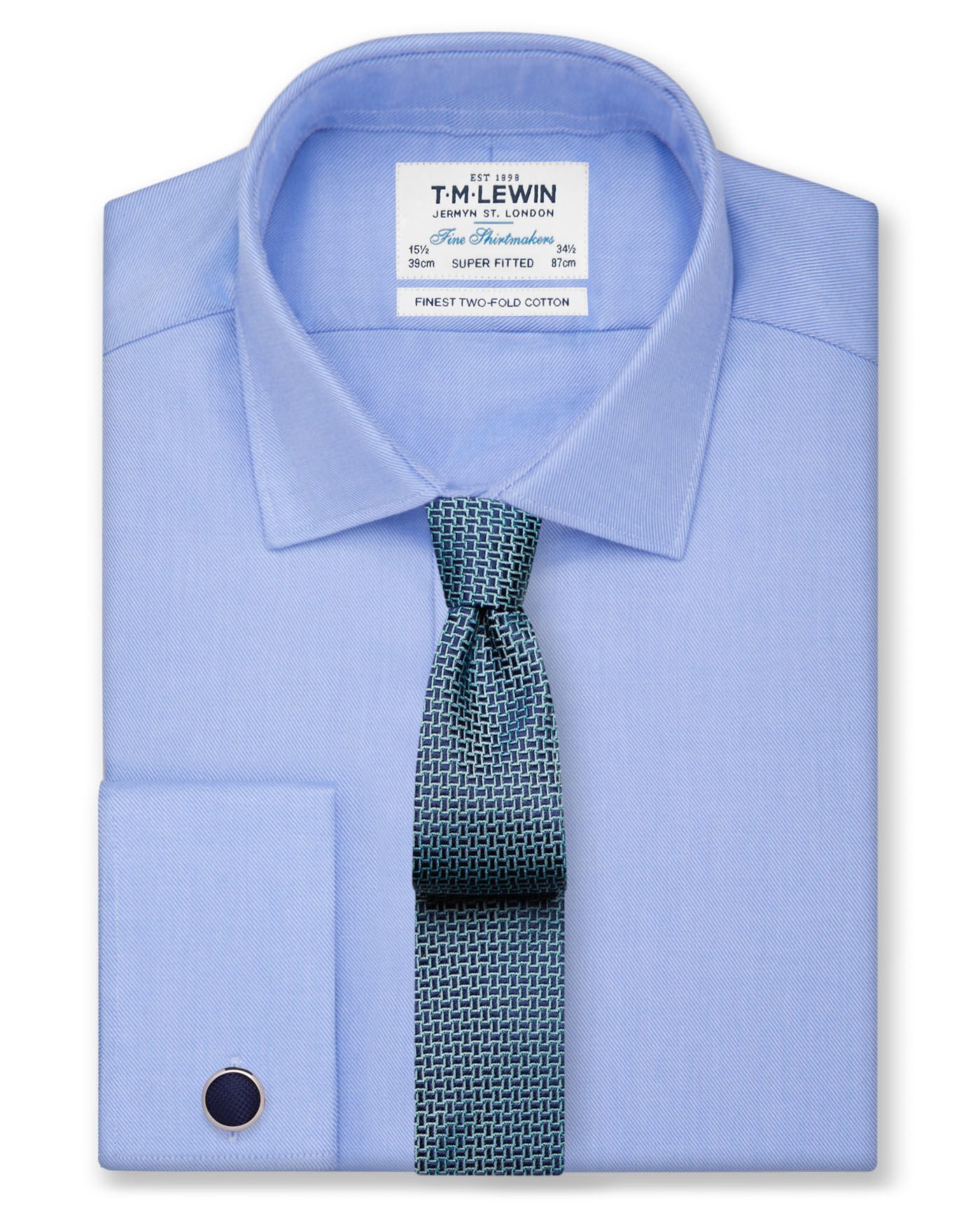 T.M.Lewin Super Fitted Blue Twill Double Cuff Shirt