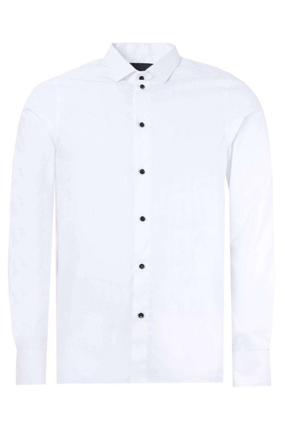 boohooMAN white Slim Fit Long Sleeve Shirt With Contrast Buttons