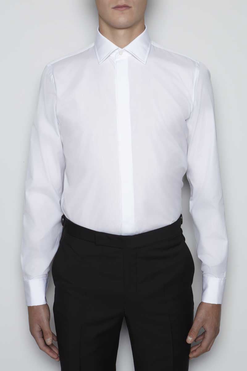 Richard James White Contemporary Shirt Fly Front Double Cuff Cotton Poplin