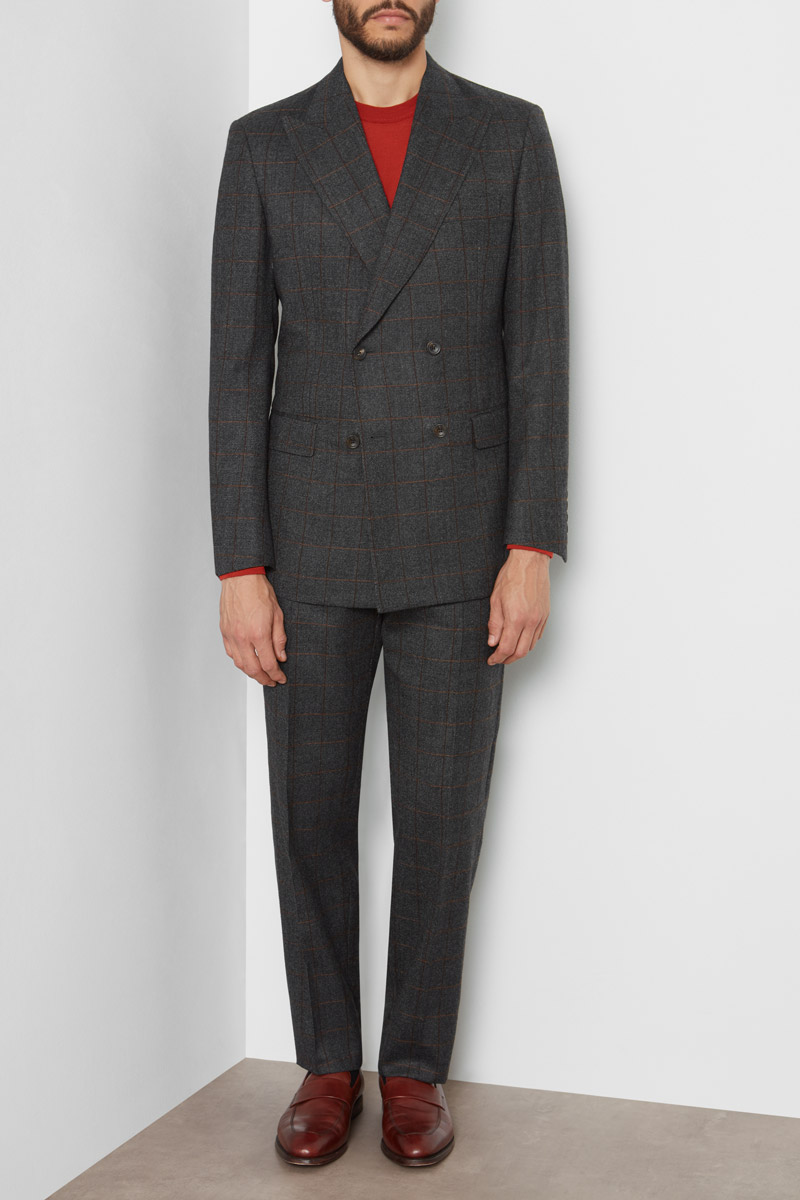 Richard James Charcoal Brown Double-Breasted Suit Pindot Check