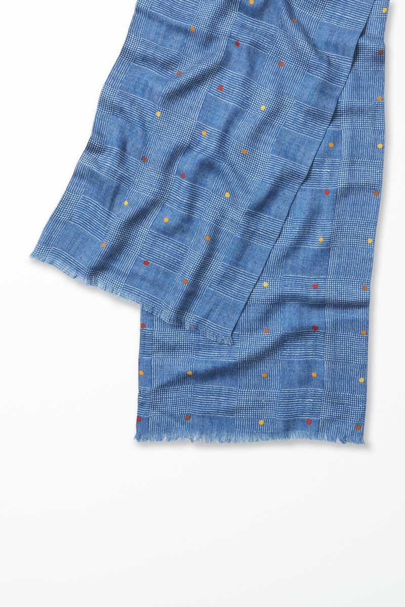 Richard James Blue Check Printed Scarf