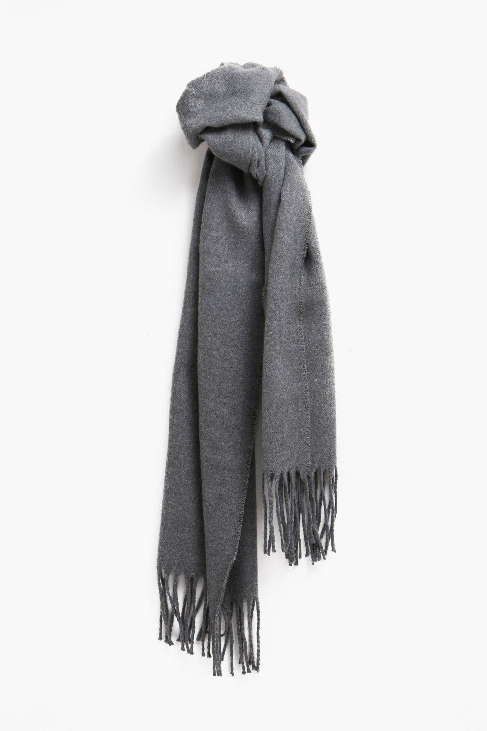 boohooMAN charcoal Plain Knitted Tassel Scarf
