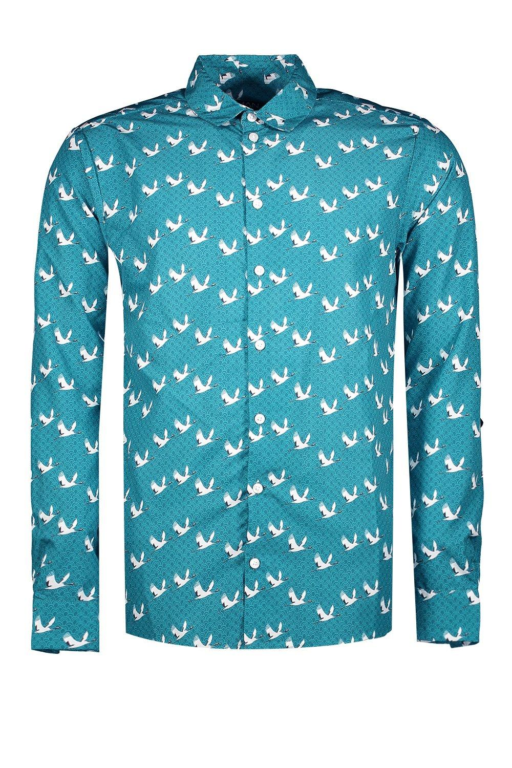 boohooMAN teal Bird Print Long Sleeve Satin Shirt