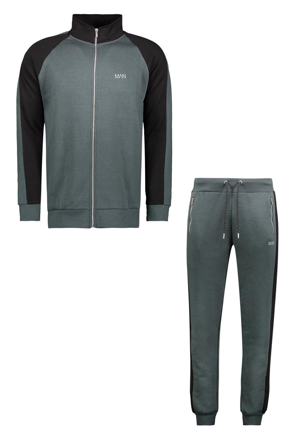 boohooMAN urban chic Active Skinny Funnel Neck Tracksuit