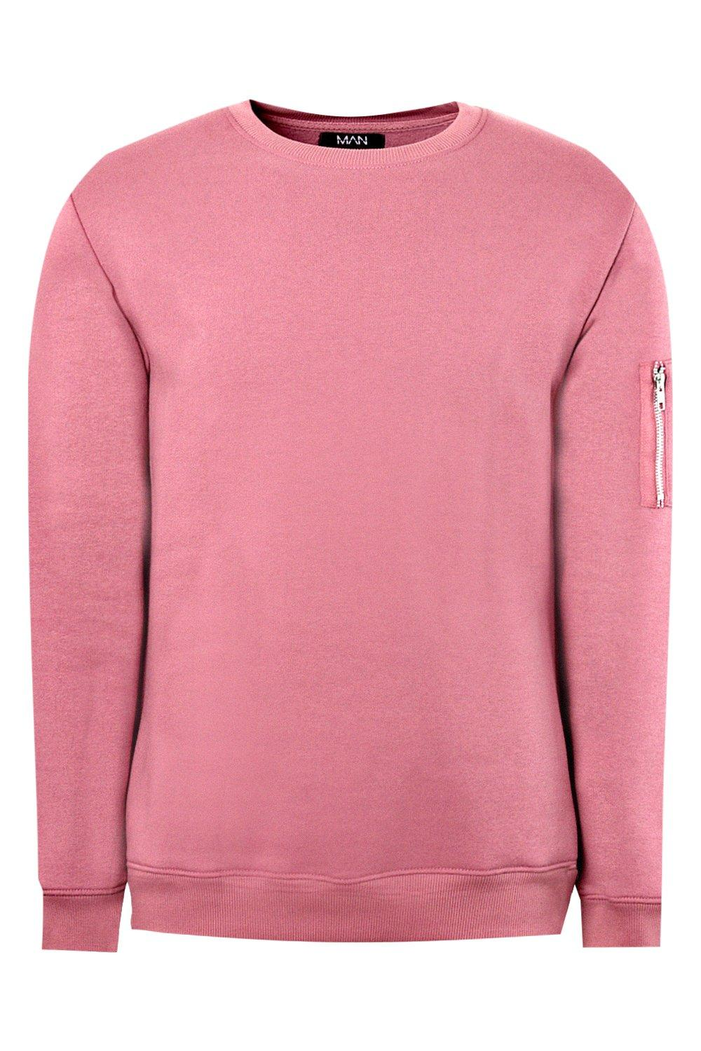 boohooMAN cedar MA1 Pocket Detail Fleece Sweatshirt