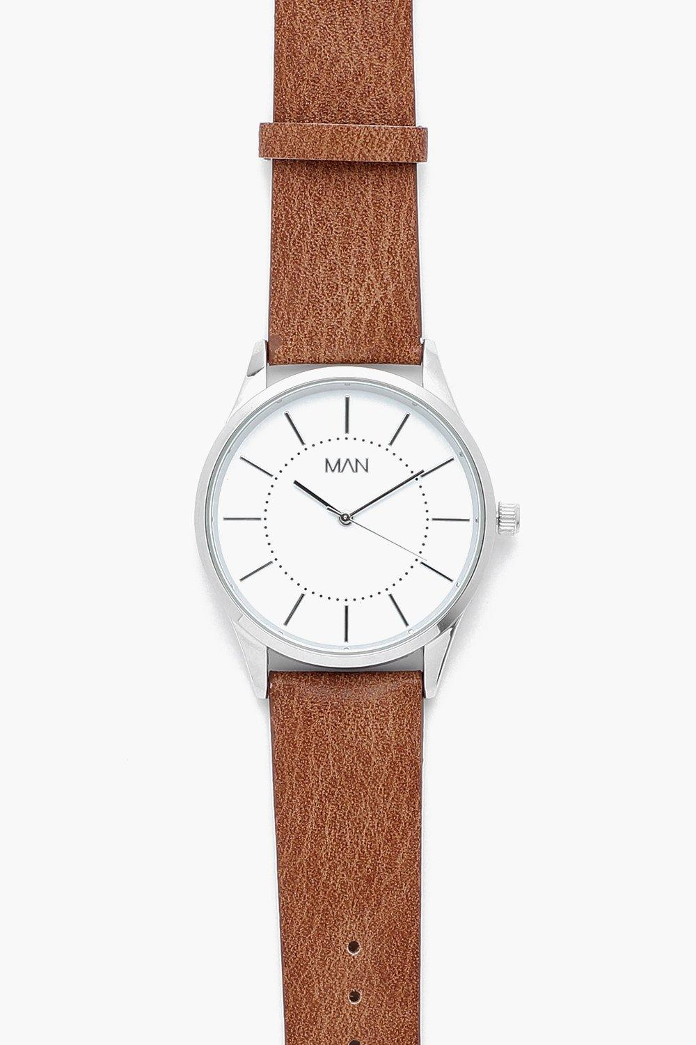 boohooMAN tan Classic Face Watch With Faux Leather Strap