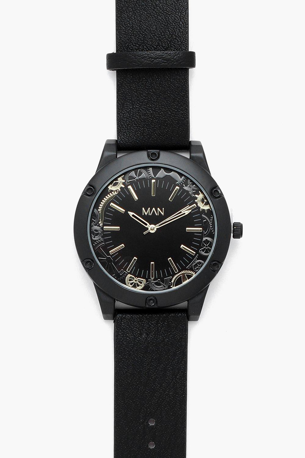 boohooMAN Oversized Cog Detail Black Watch
