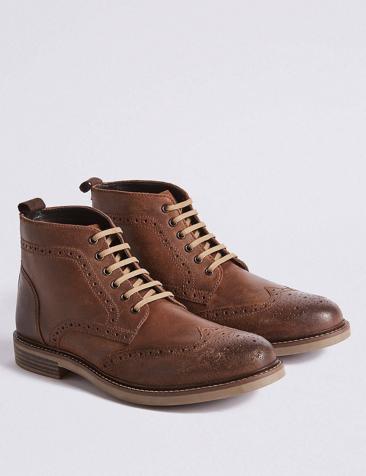 Marks & Spencer Tan Leather Lace-up Chukka Boots