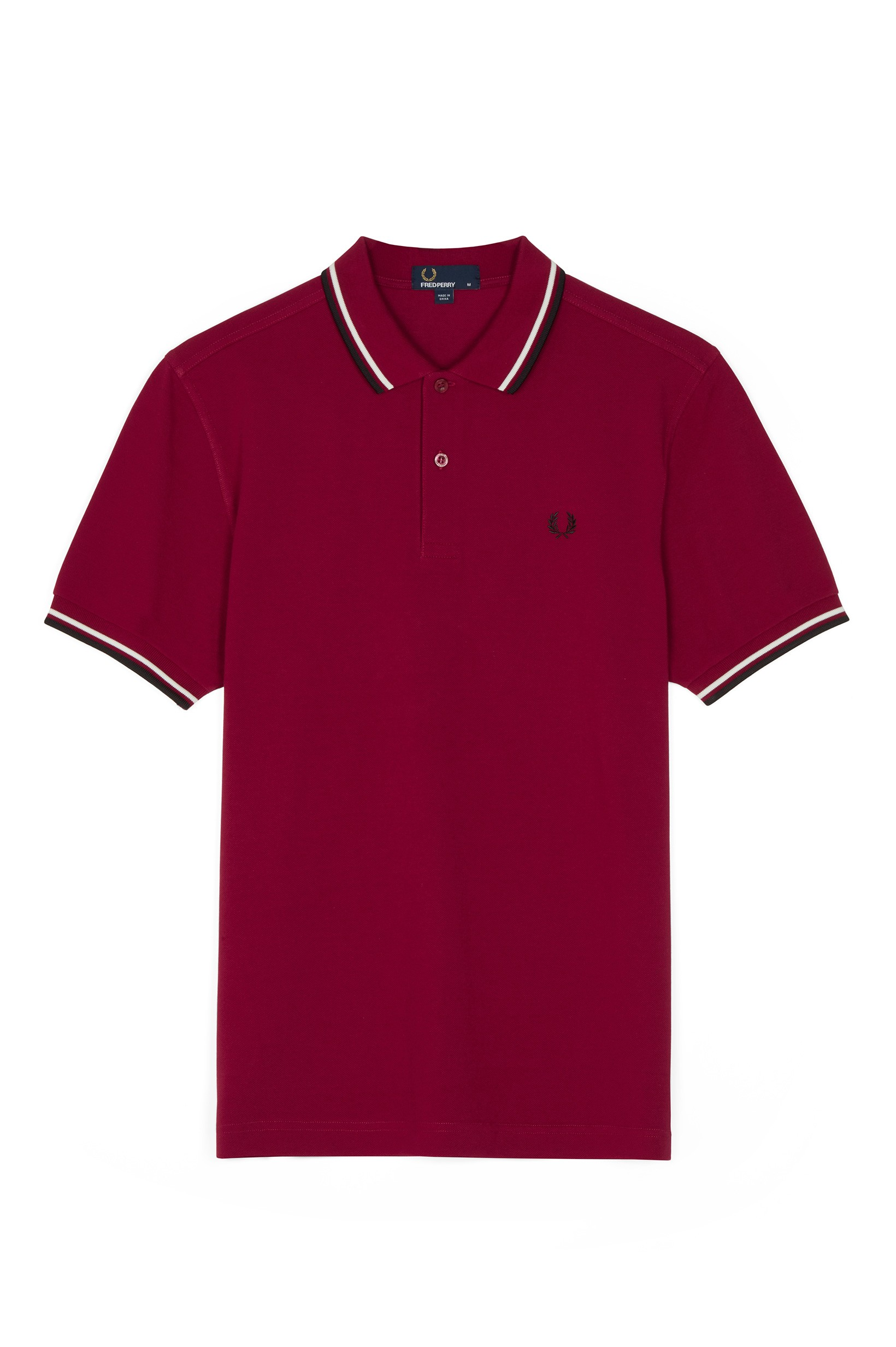 Fred Perry Sherry / Snow White / Black The Fred Perry Shirt M3600