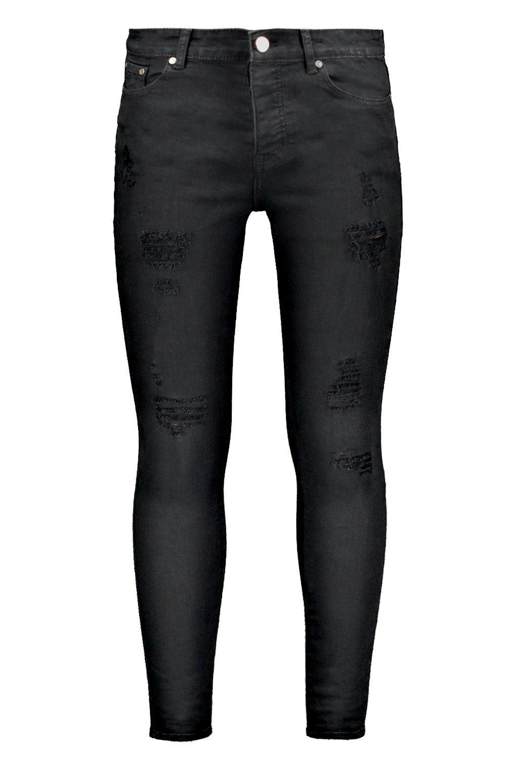 boohooMAN black Spray On Skinny Jeans With Distressing