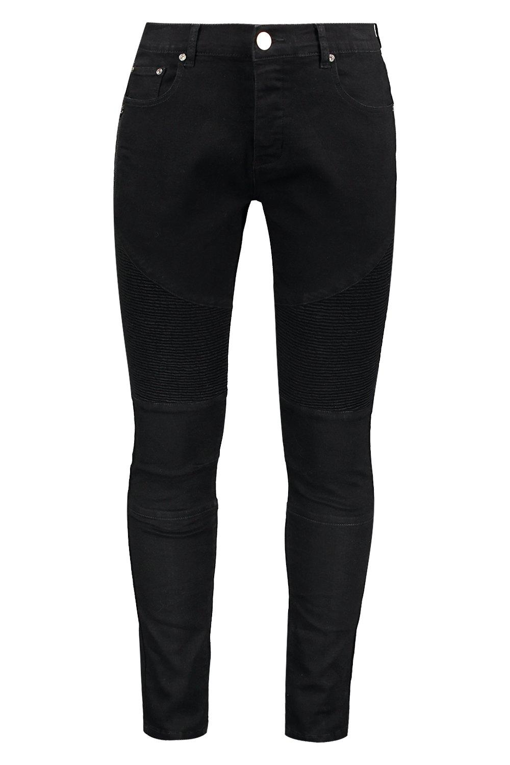 boohooMAN black Skinny Fit Biker Jeans with Side Zip