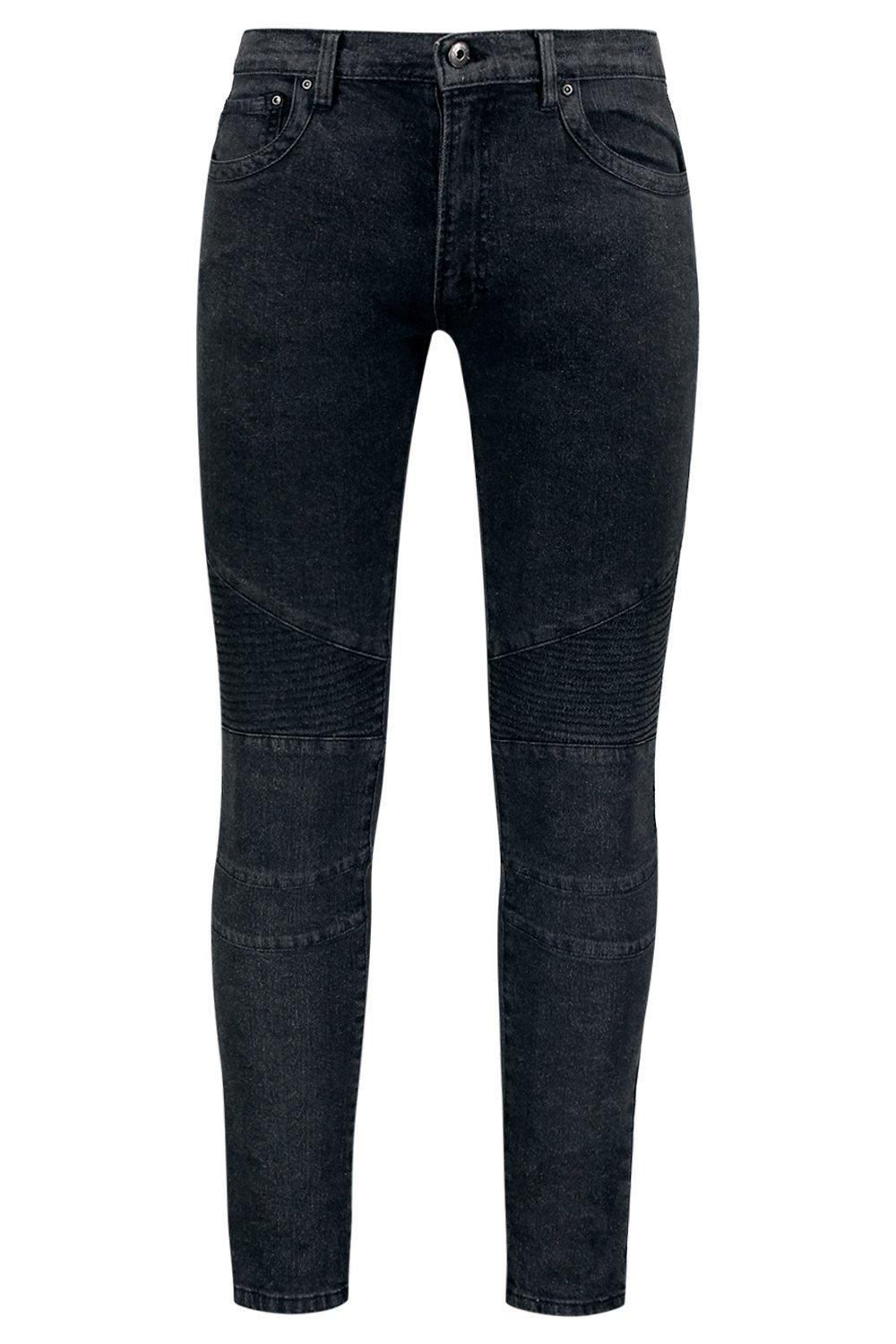 boohooMAN charcoal Skinny Fit Jeans with Biker Detailing