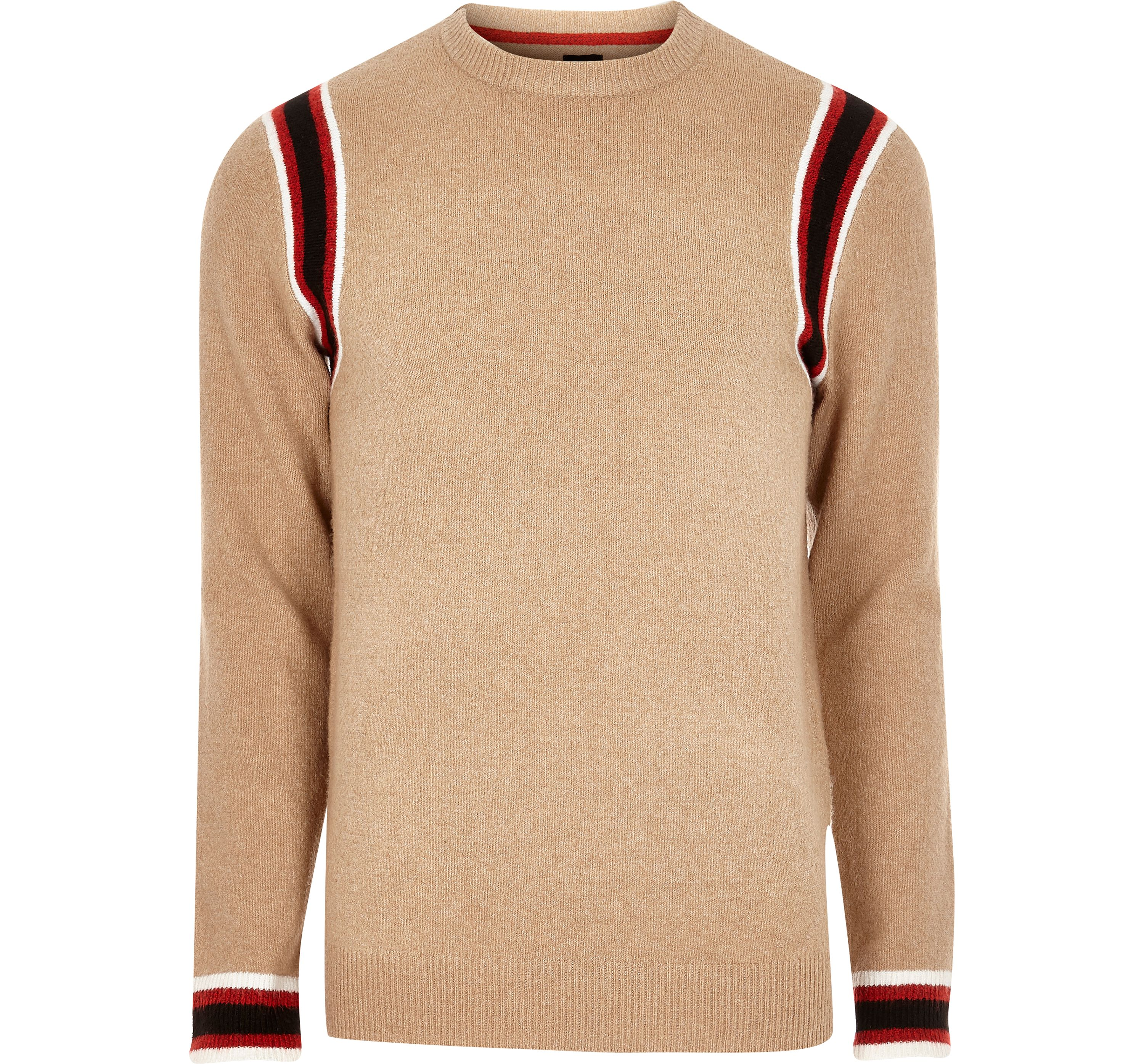 River Island Mens Camel knit slim fit contrast tape side jumper