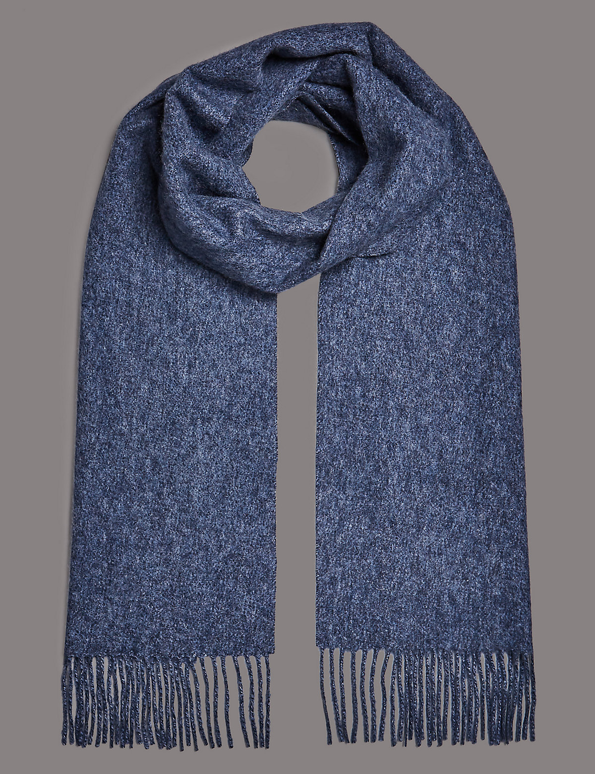 Marks & Spencer Blue Mix Pure Cashmere Wider Width Scarf