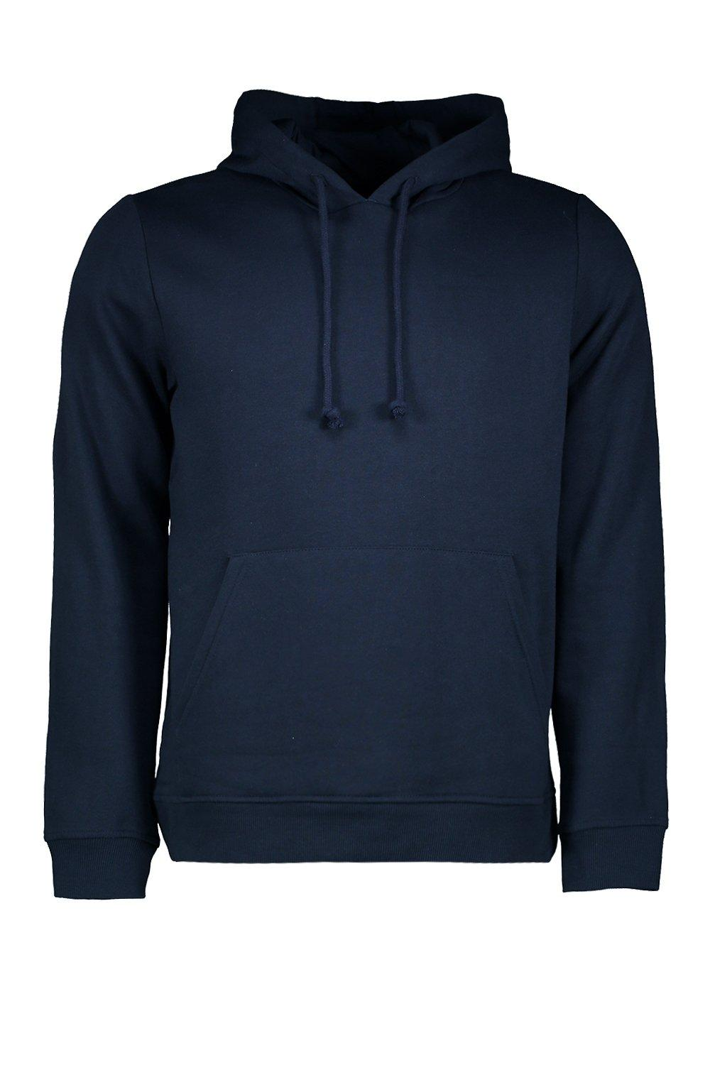 boohooMAN navy Basic Over The Head Hoodie