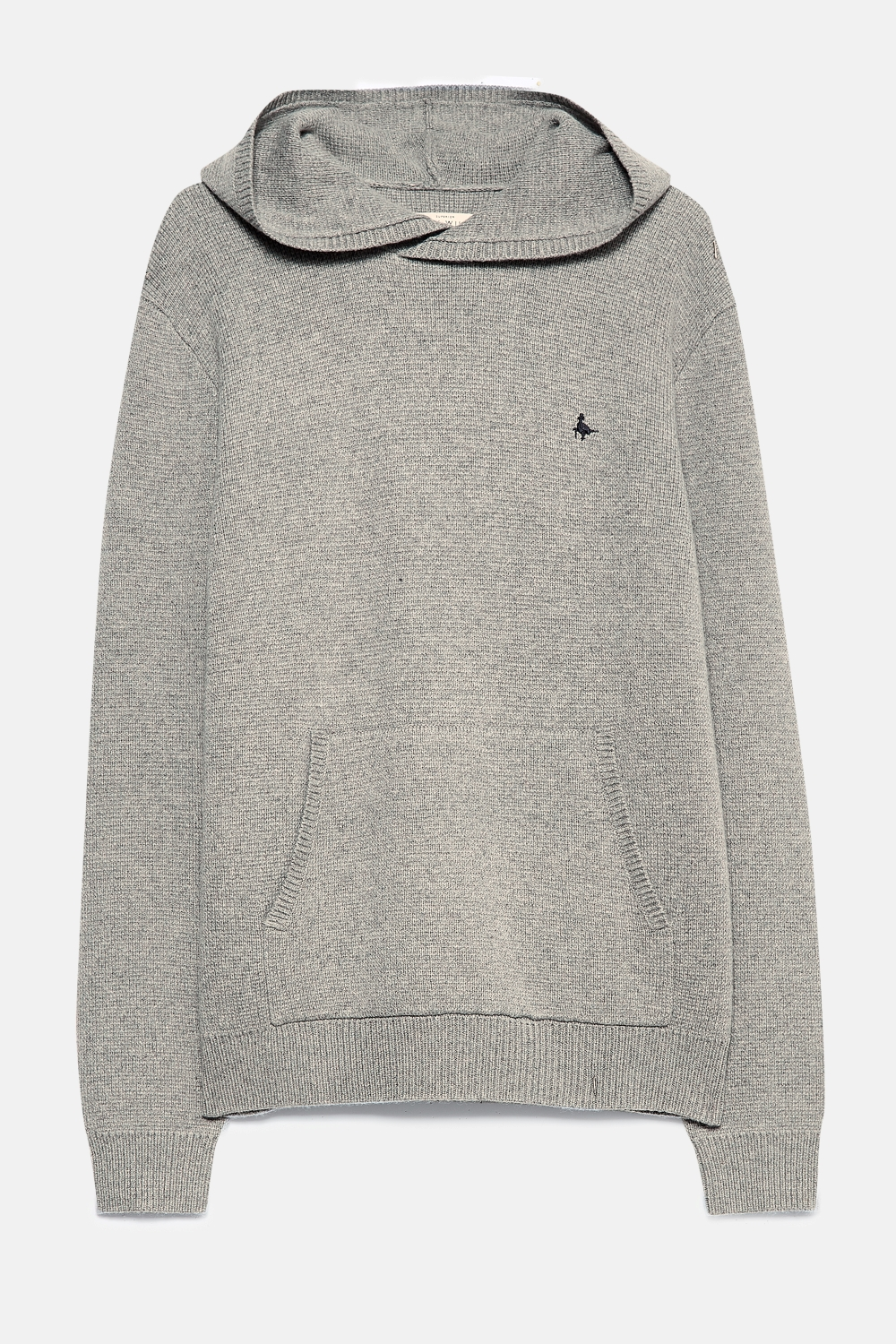 Jack Wills Grey CARTER EXTRA FINE MERINO KNITTED HOODIE