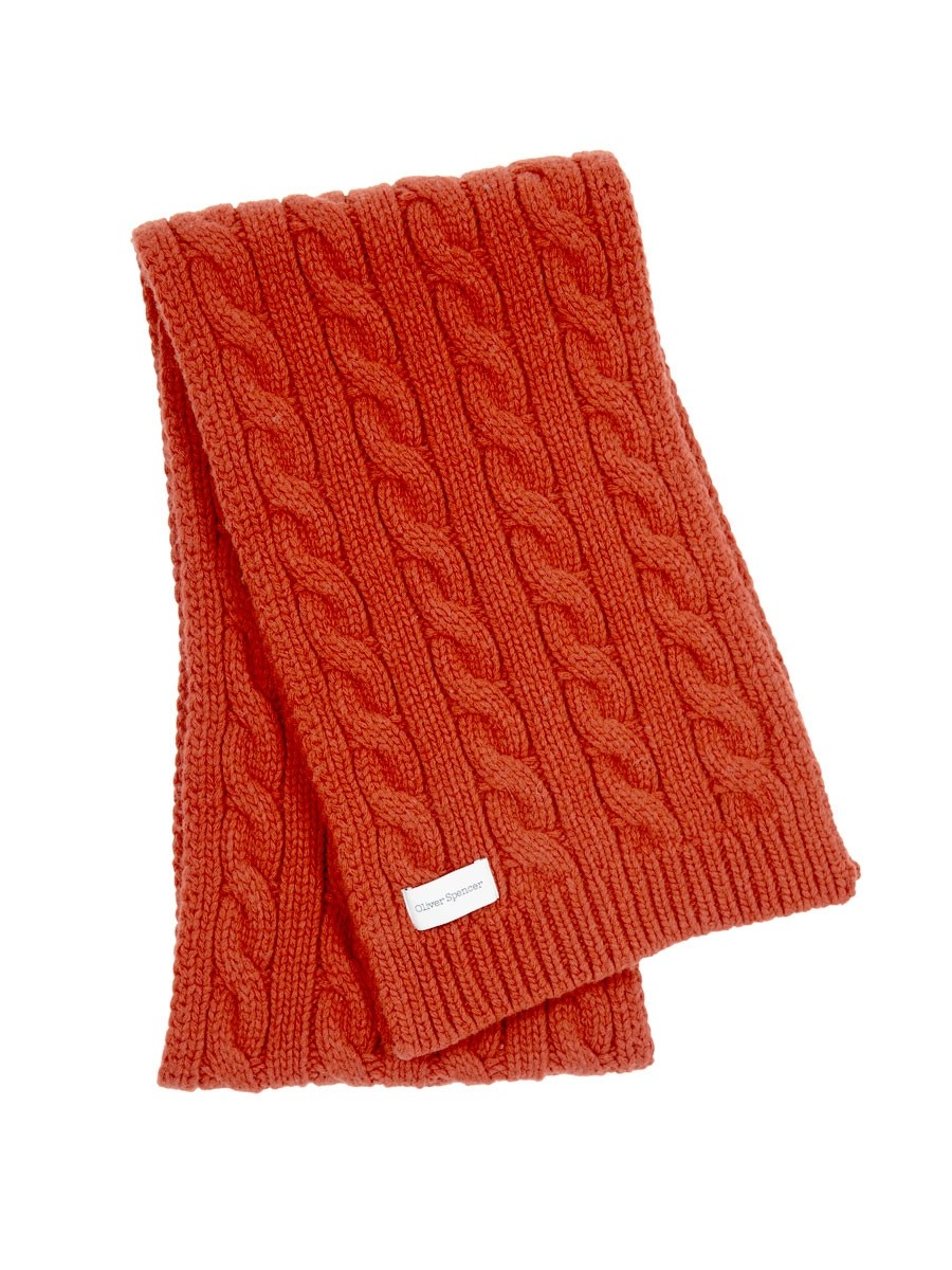 Oliver Spencer Arbury Scarf Cable Orange
