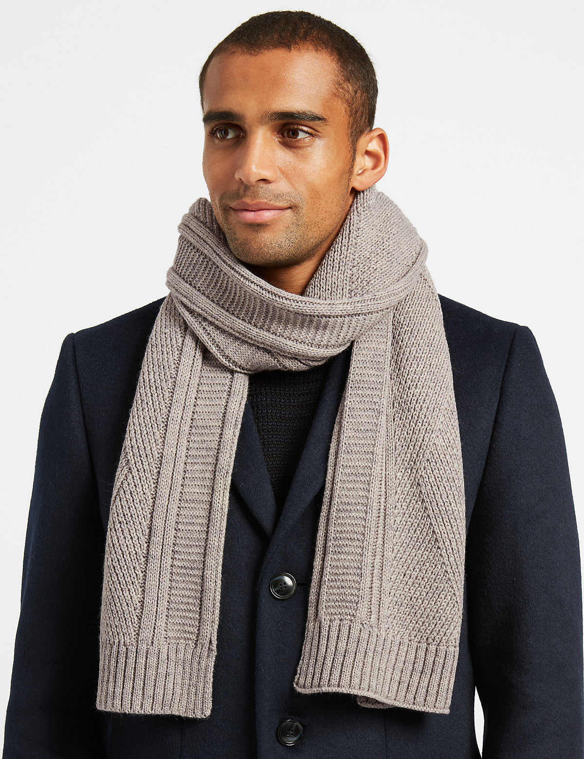 Marks & Spencer Oatmeal Cable Knitted Scarf