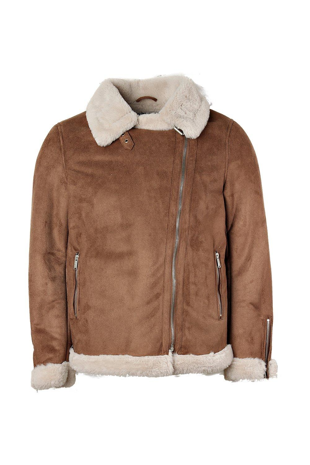 boohooMAN tan Faux Fur Lined Suede Aviator