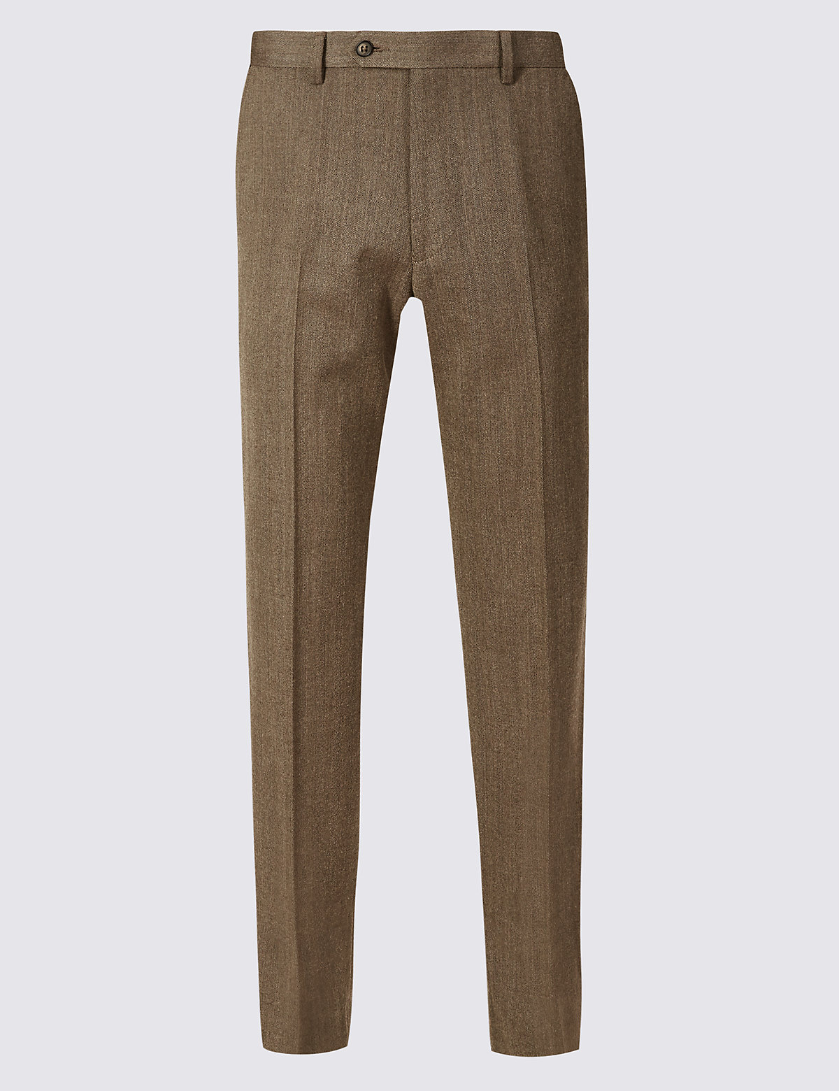 Marks & Spencer Neutral Regular Fit Wool Blend Flat Front Trousers