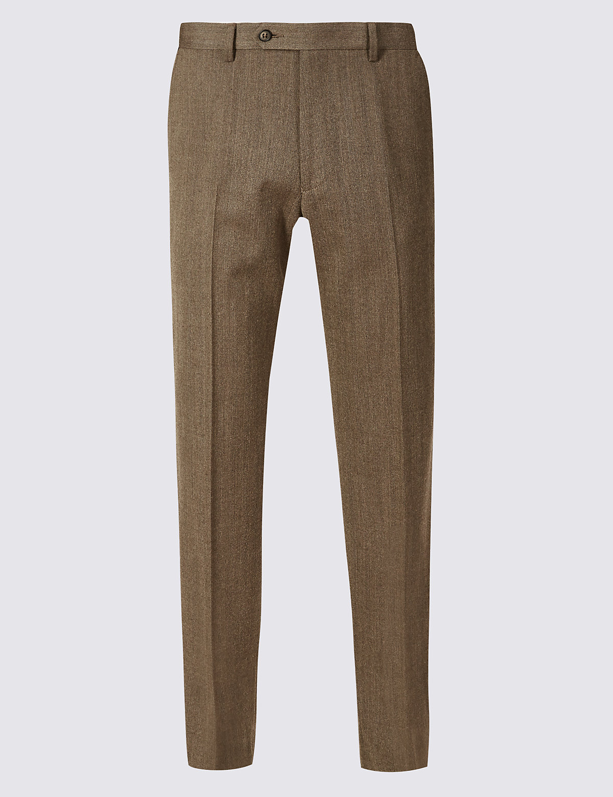 Marks & Spencer Neutral Tailored Fit Wool Blend Flat Front Trousers