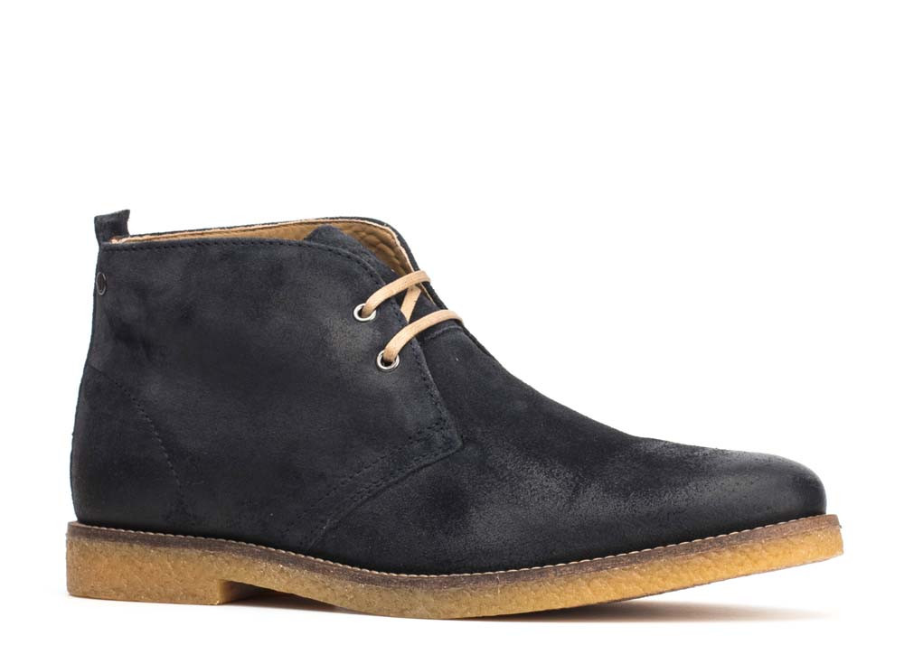 Base London Navy Perry Burnished Suede