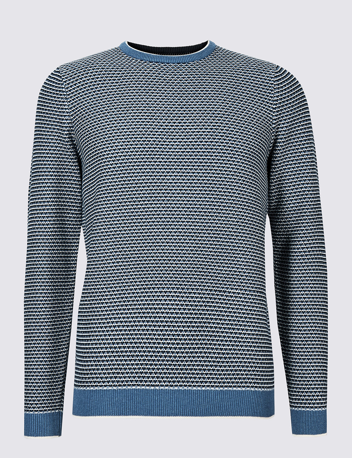 Marks & Spencer Blue Mix Pure Cotton Textured Jumper