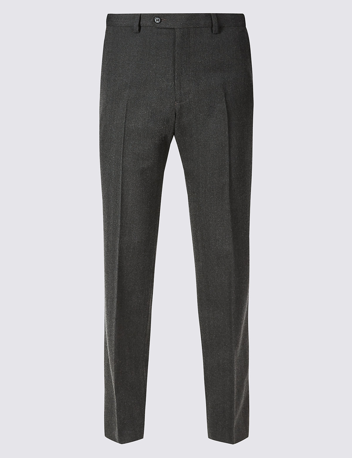 Marks & Spencer Charcoal Tailored Fit Wool Blend Flat Front Trousers