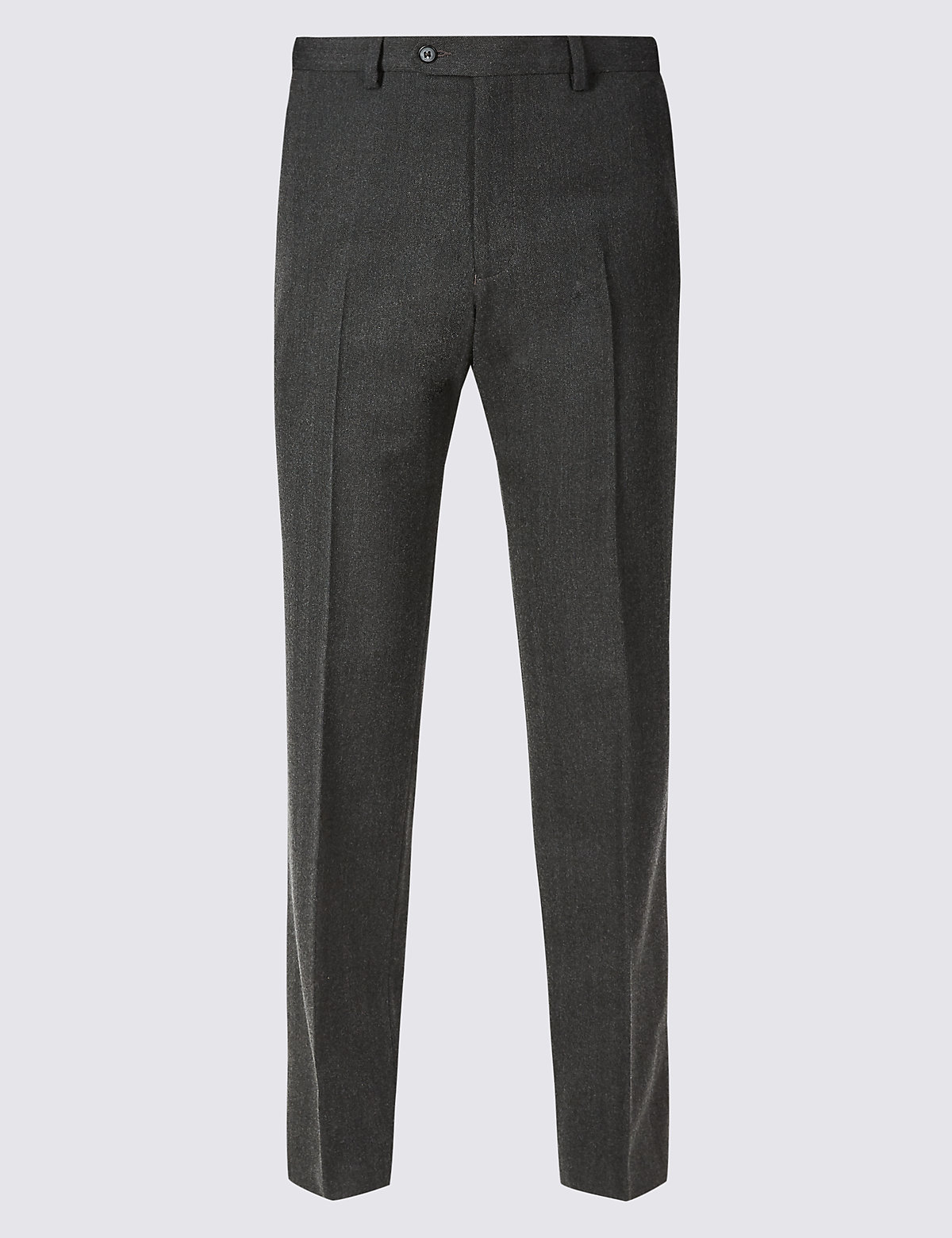 Marks & Spencer Charcoal Regular Fit Wool Blend Flat Front Trousers