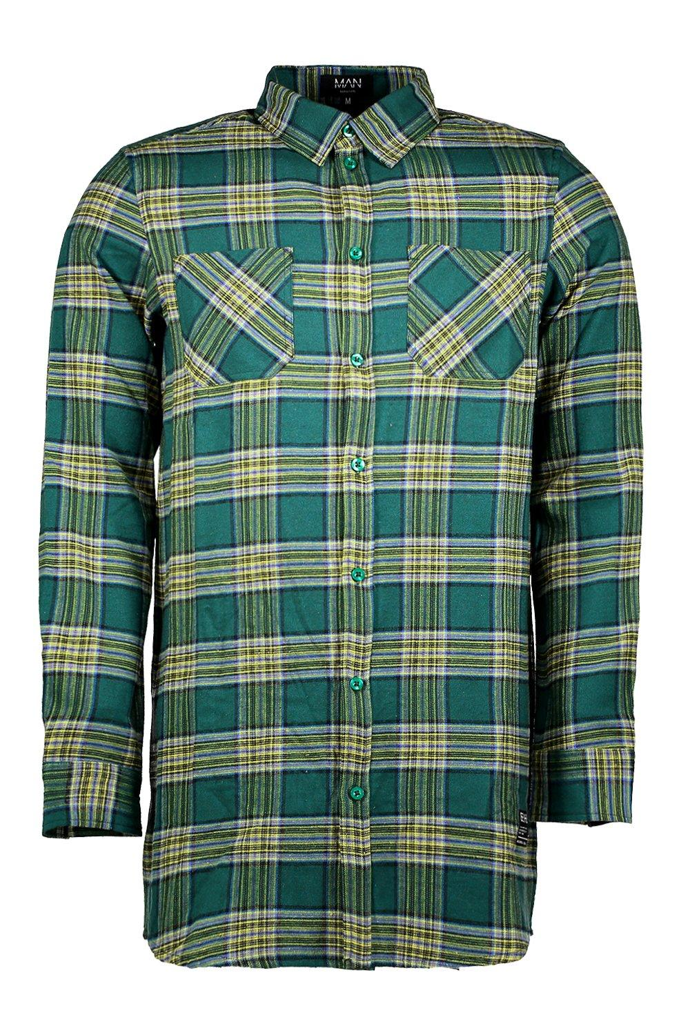 boohooMAN green Longline Long Sleeve Check Shirt With Patch