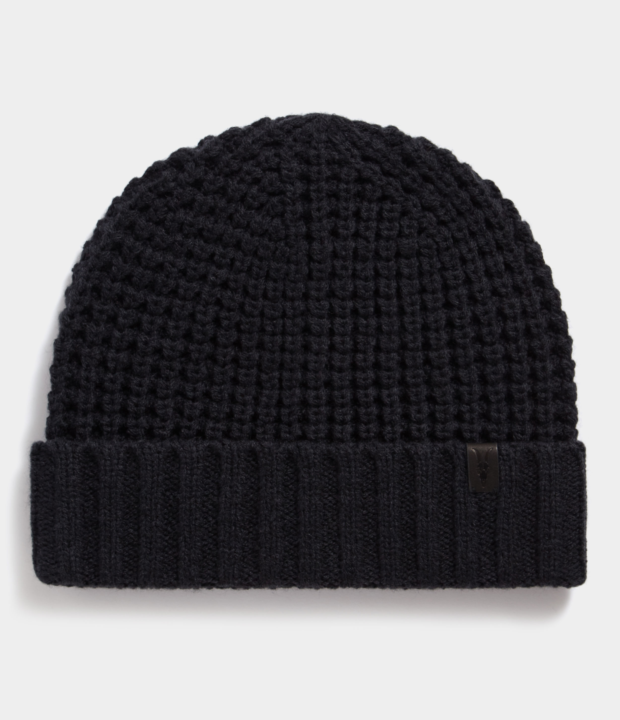 AllSaints Cinder Black Marl Thermal Stitch Beanie