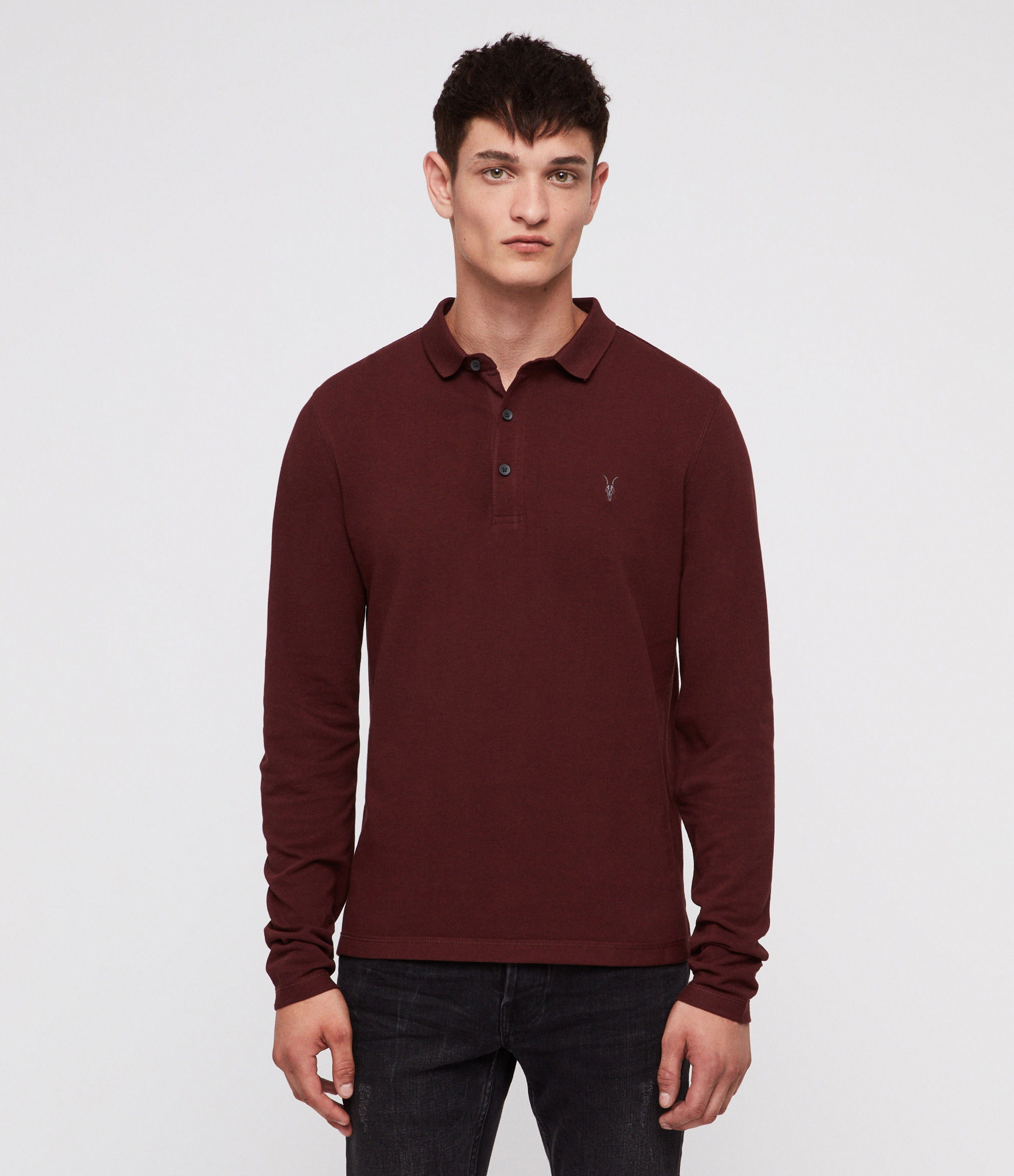 AllSaints Dark Rust Reform Polo Shirt