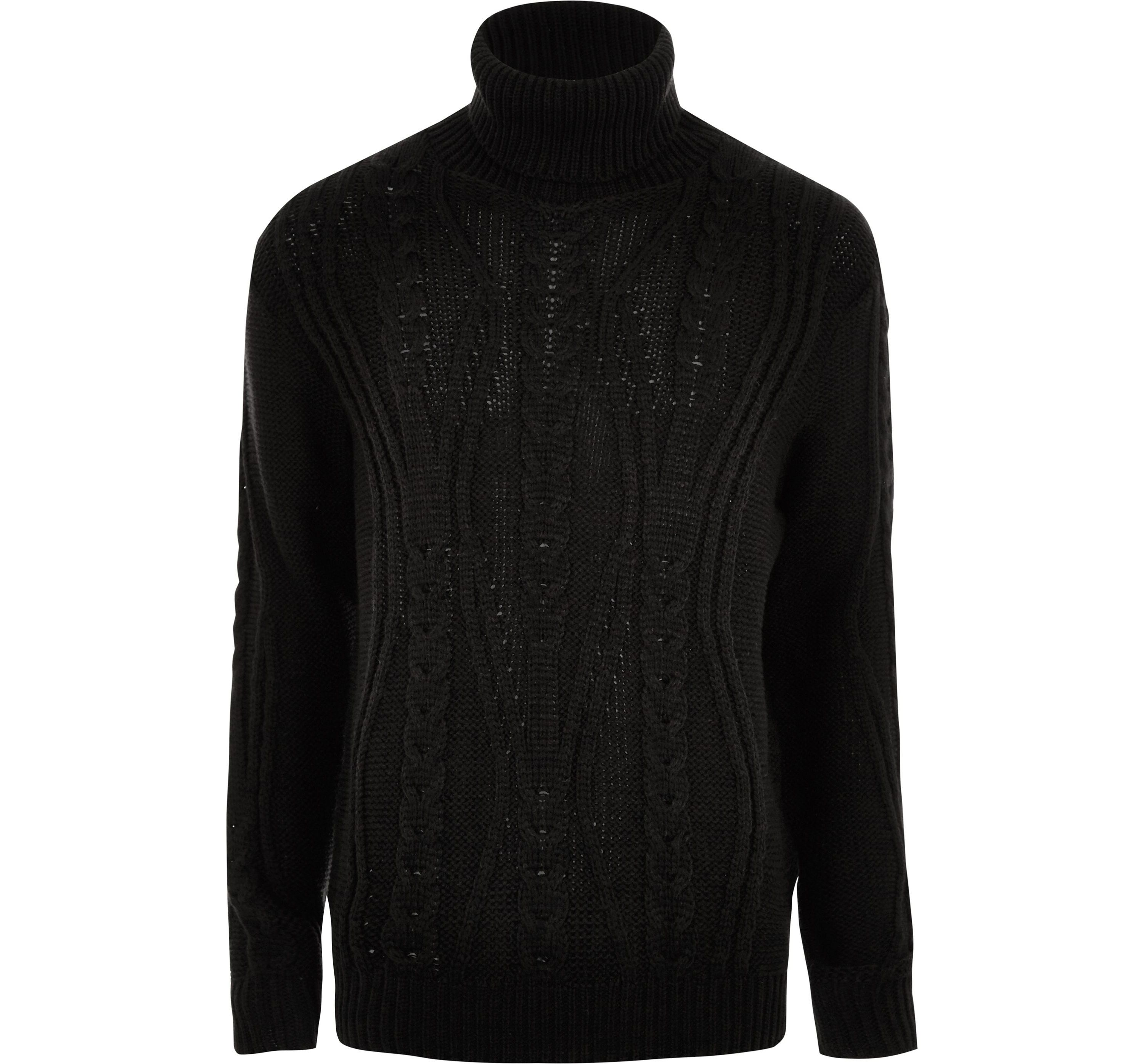 River Island Mens Black chunky cable knit roll neck jumper