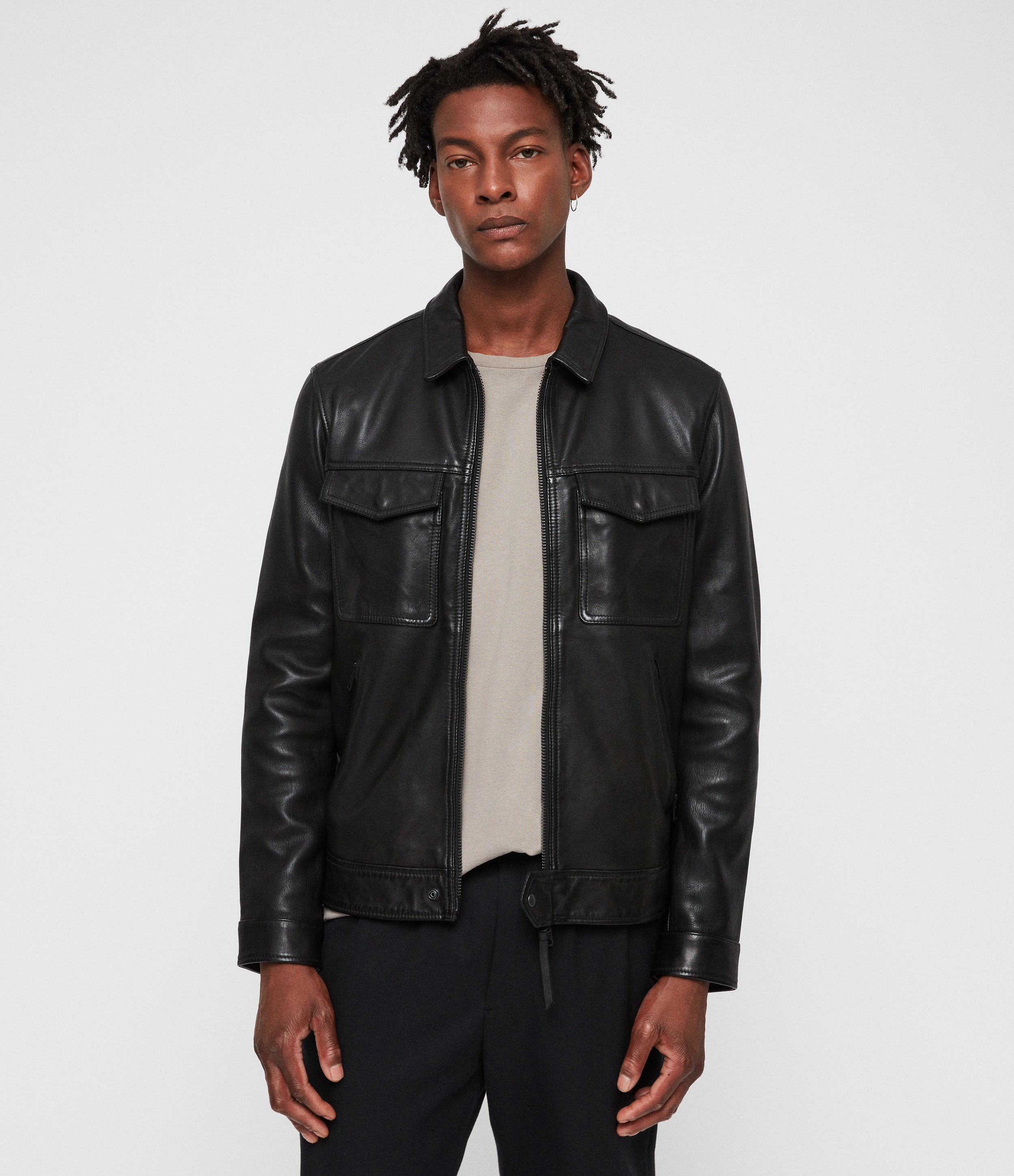 AllSaints Black Revelry Leather Jacket