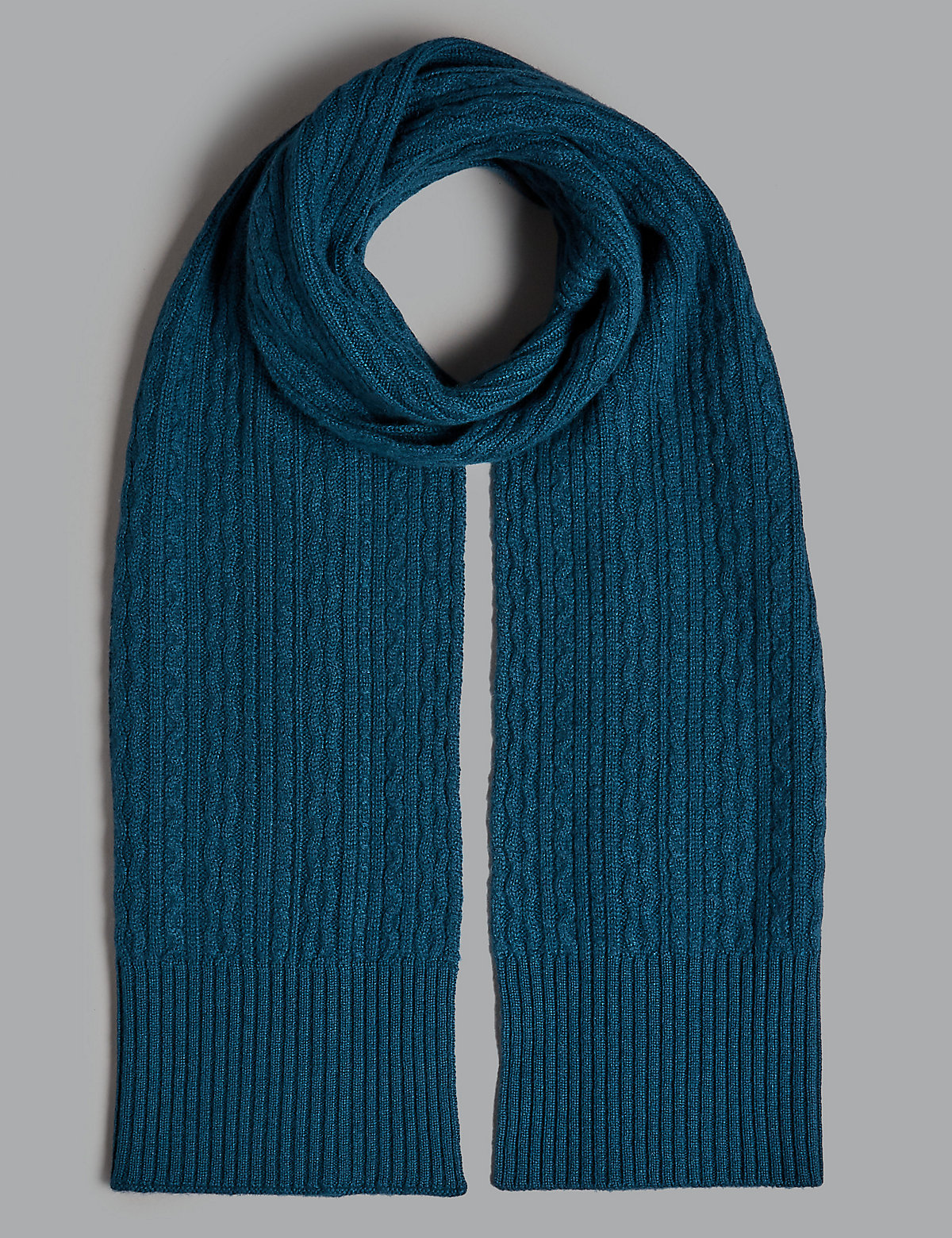 Marks & Spencer Midnight Pure Cashmere Cable Scarf