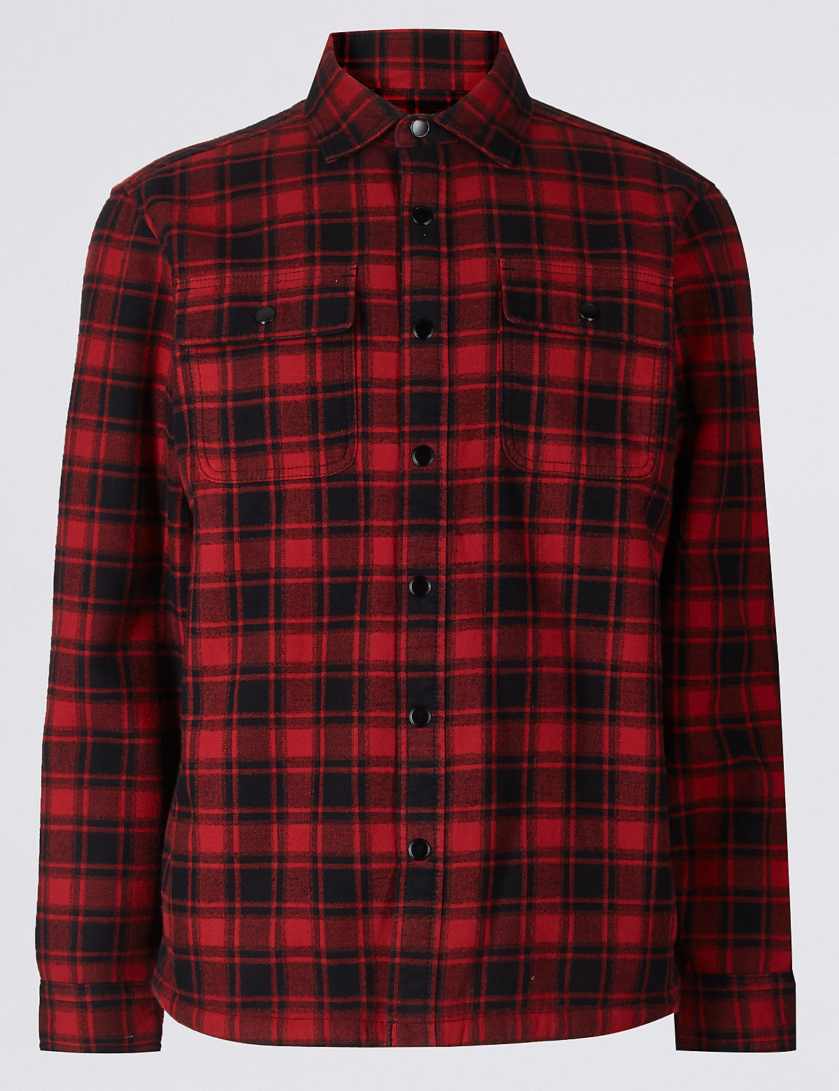 Marks & Spencer Red Mix Pure Cotton Checked Shacket with Pocket